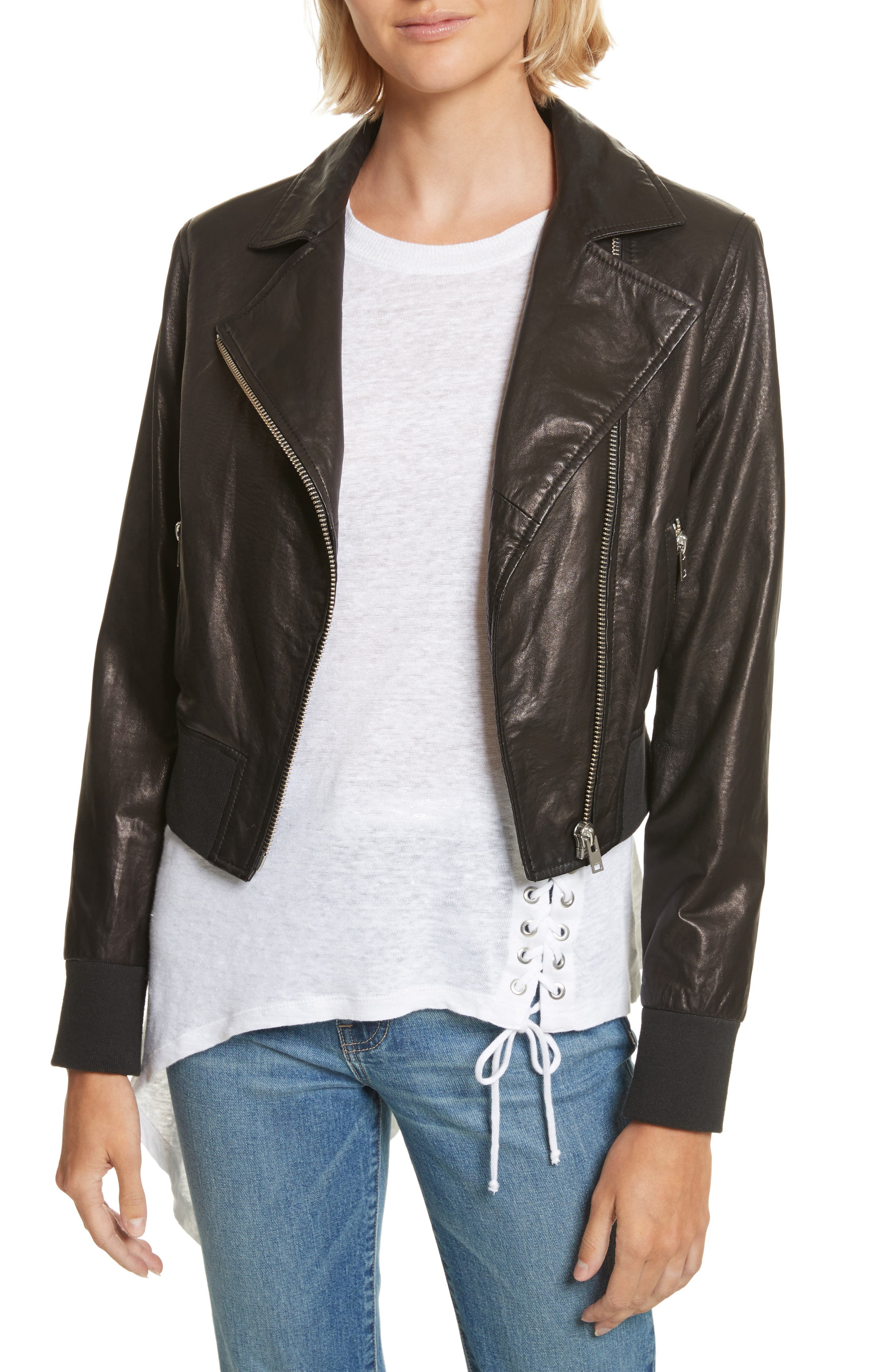 Kalore Leather Moto Jacket,                         Main,                         color, 001