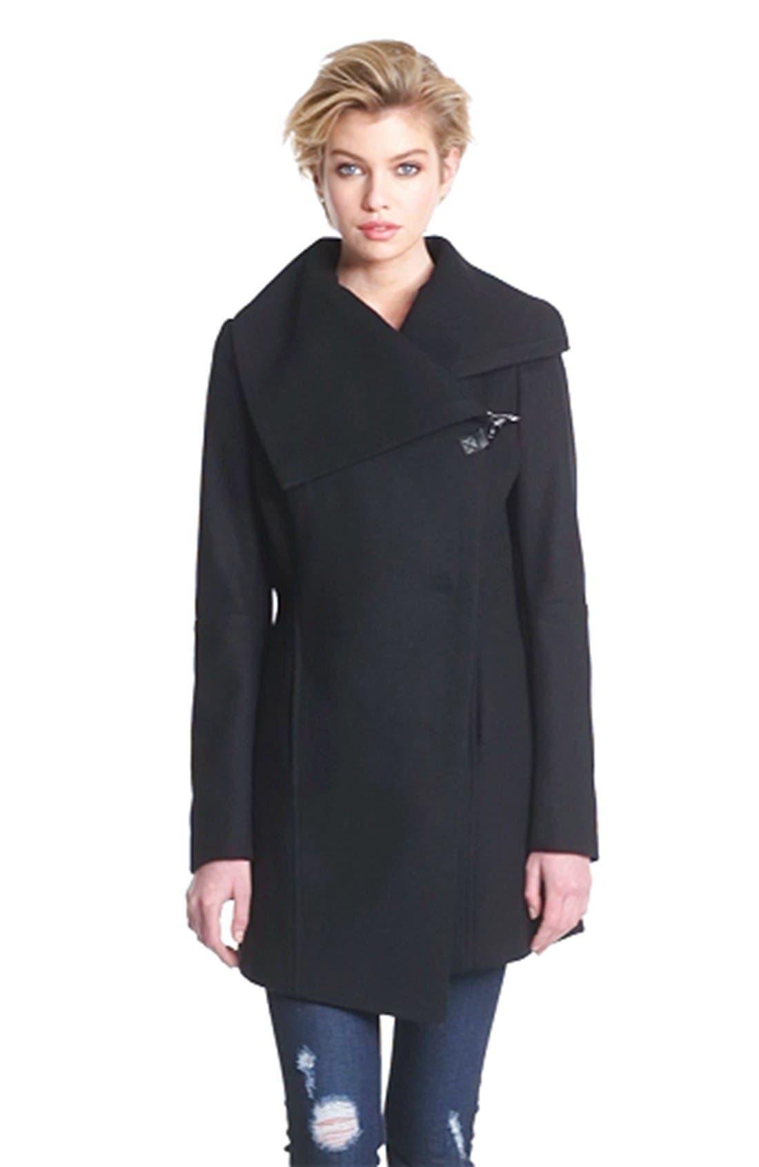 'Kit' Asymmetrical Wool Blend Coat,                             Alternate thumbnail 2, color,                             001