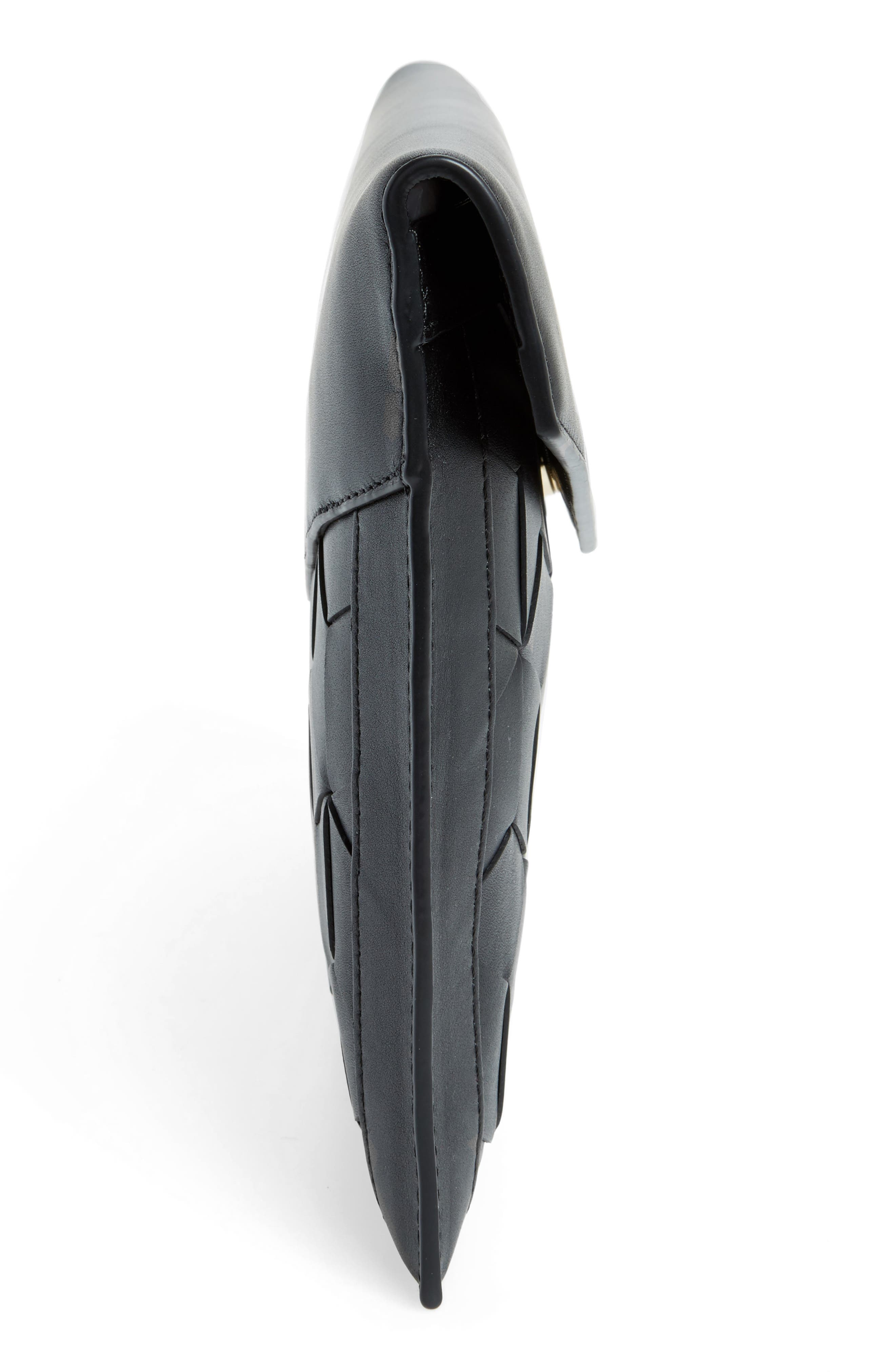 Mingle Woven Calfskin Leather Clutch,                             Alternate thumbnail 5, color,                             BLACK