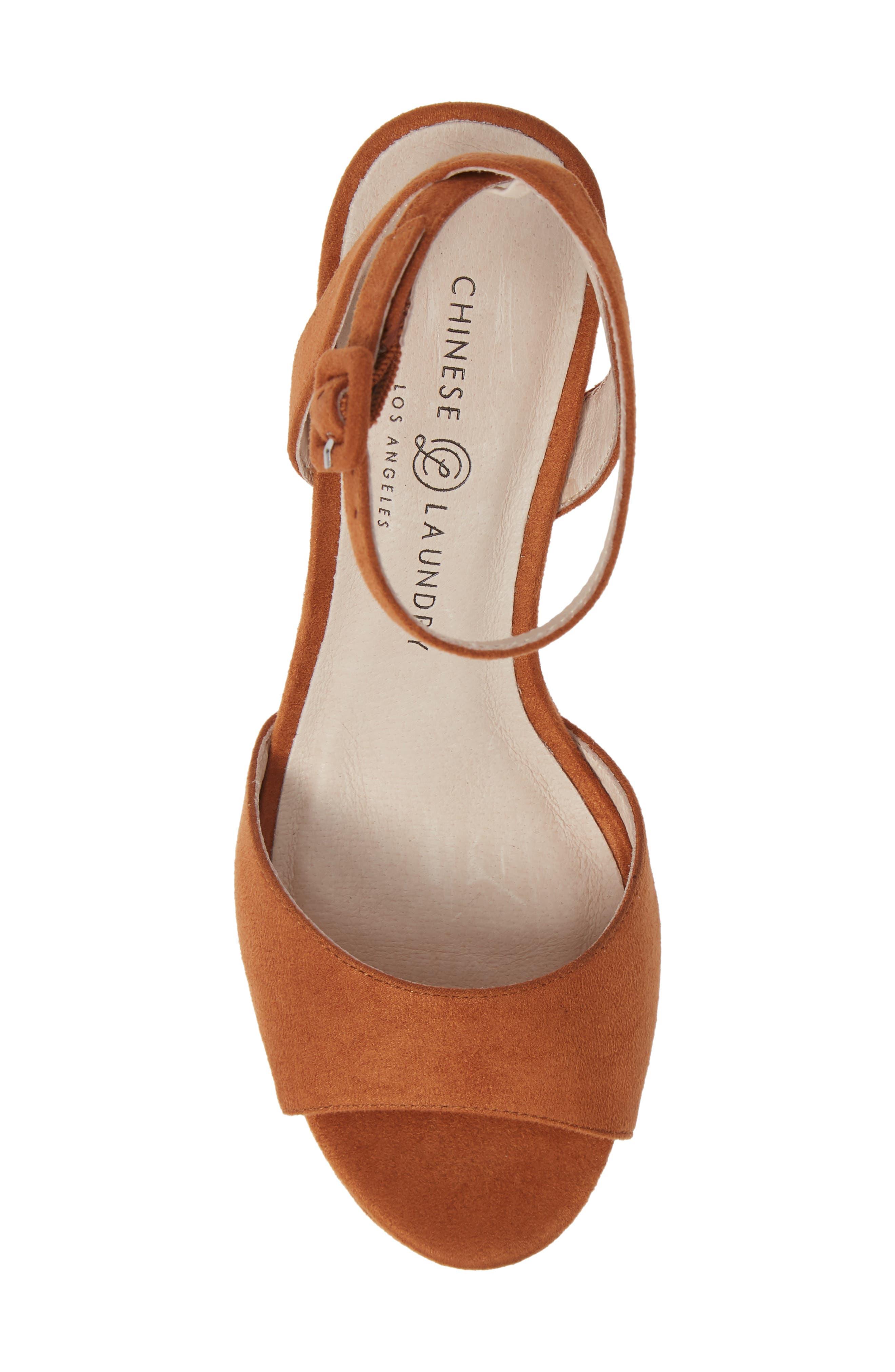 Theresa Platform Sandal,                             Alternate thumbnail 5, color,                             UMBER SUEDE