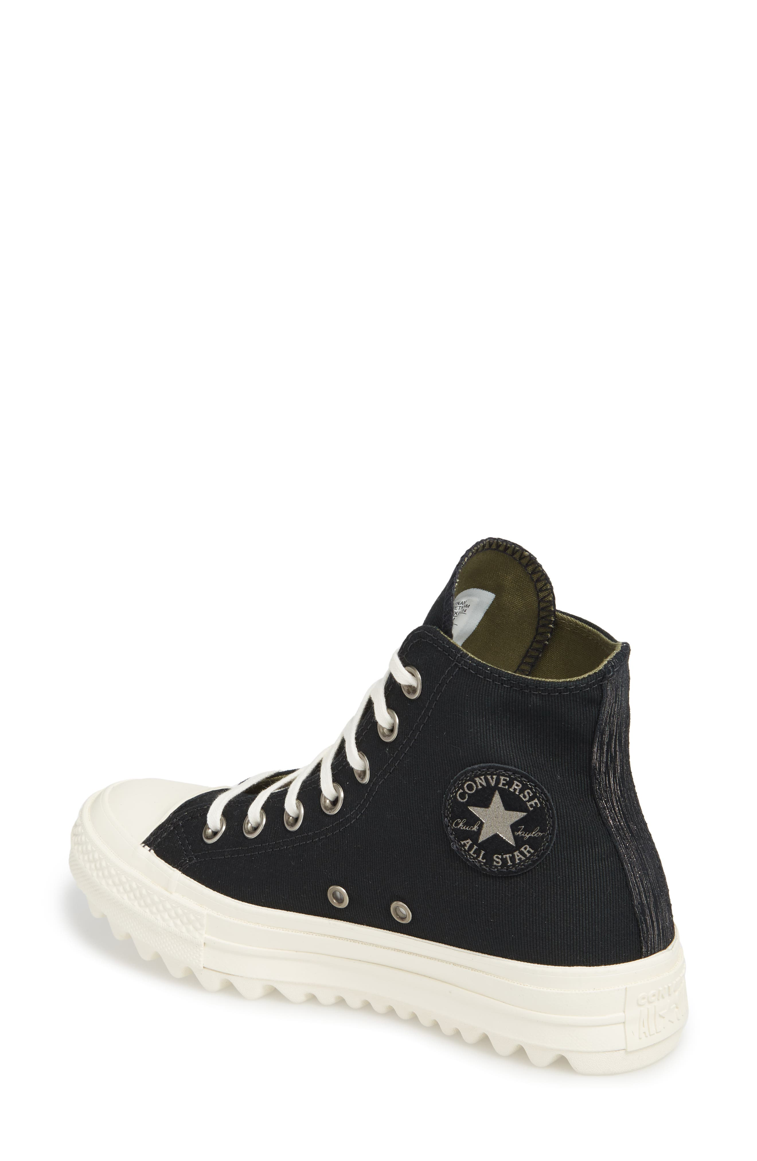Chuck Taylor<sup>®</sup> All Star<sup>®</sup> Ripple High Top Sneaker,                             Alternate thumbnail 2, color,                             001