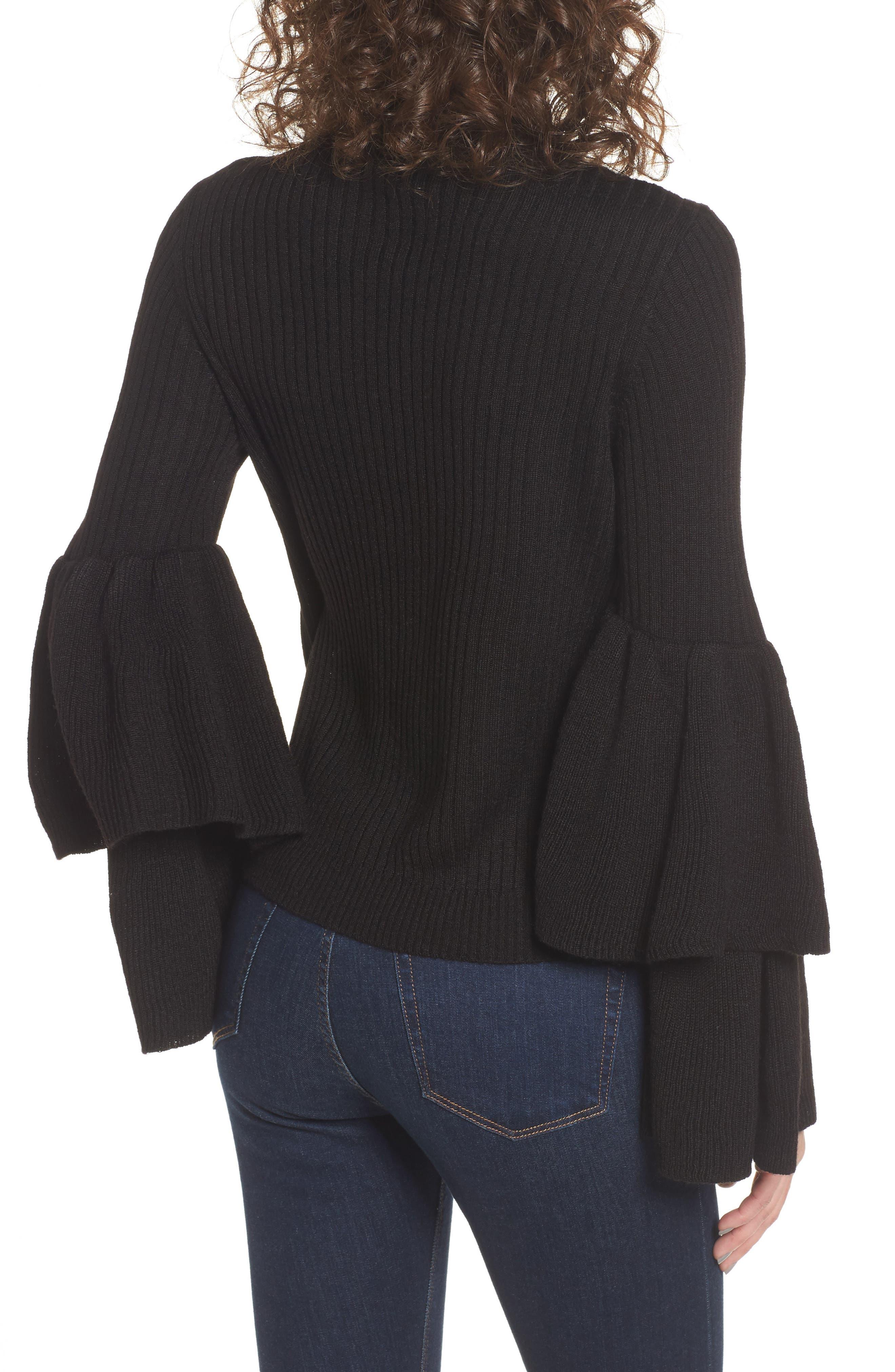 Tiara Bell Sleeve Sweater,                             Alternate thumbnail 2, color,                             001