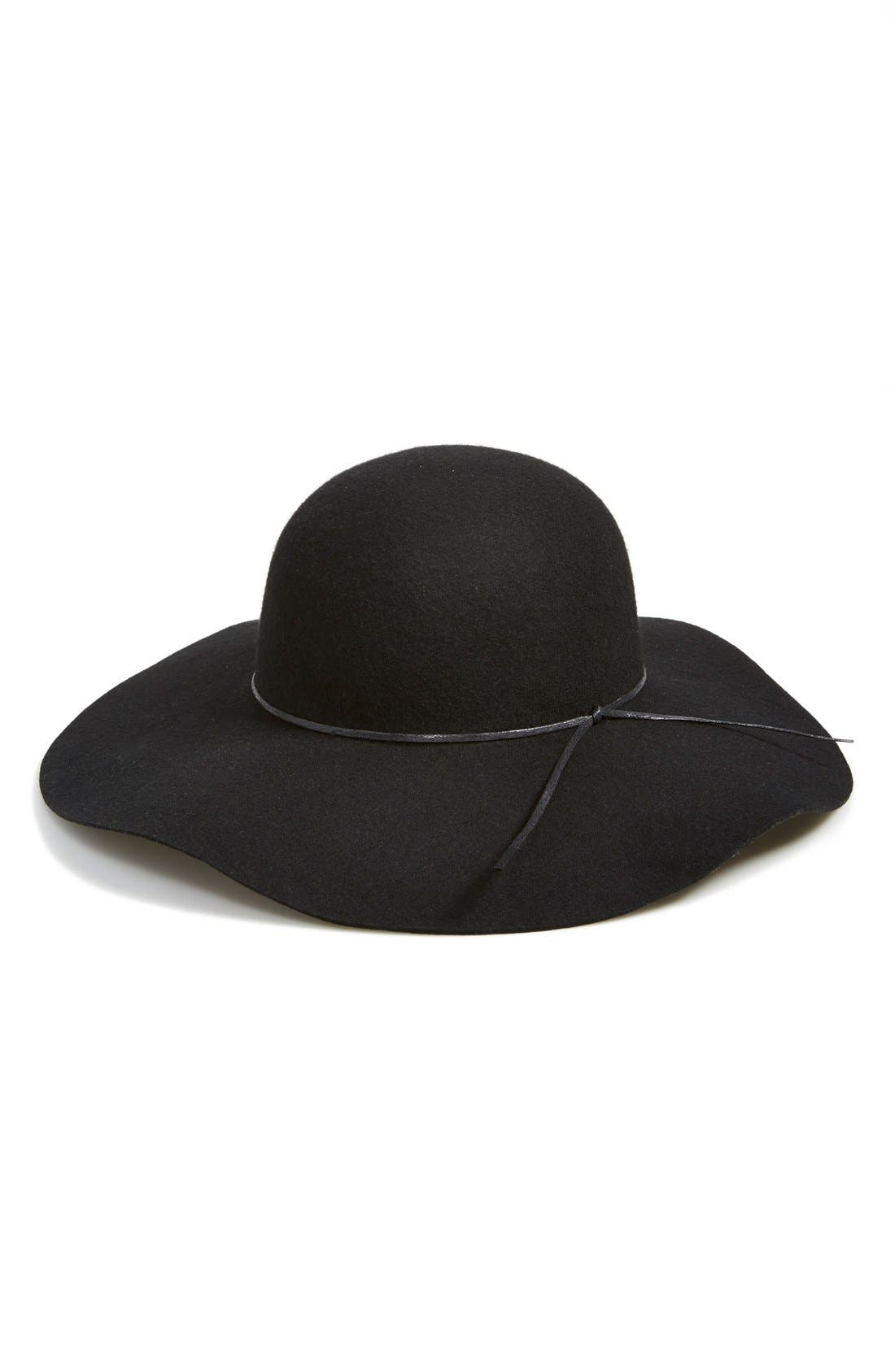 Rope Trim Floppy Felt Hat,                             Alternate thumbnail 3, color,                             001