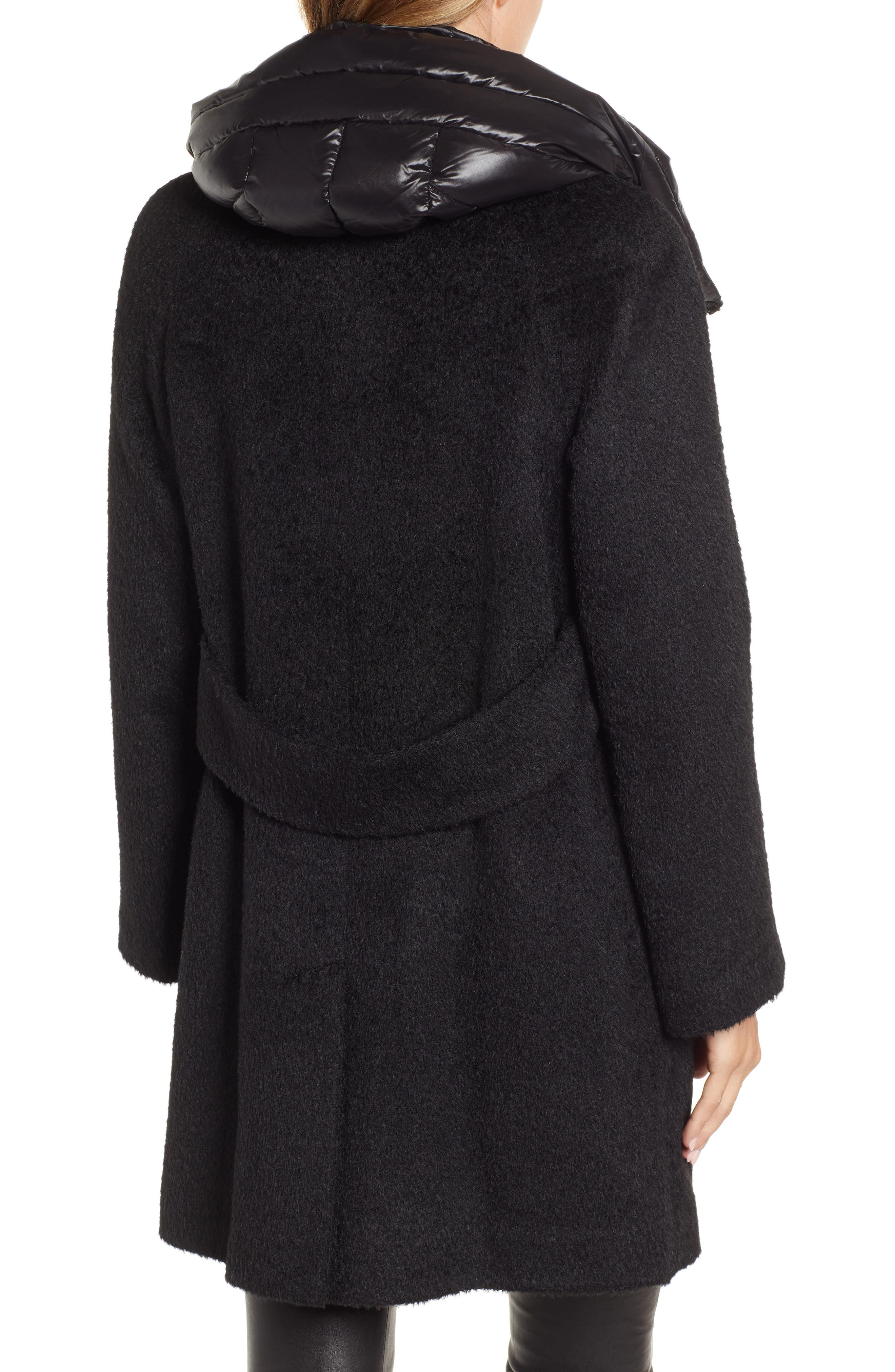 Coat with Hooded Bib,                             Alternate thumbnail 2, color,                             BLACK