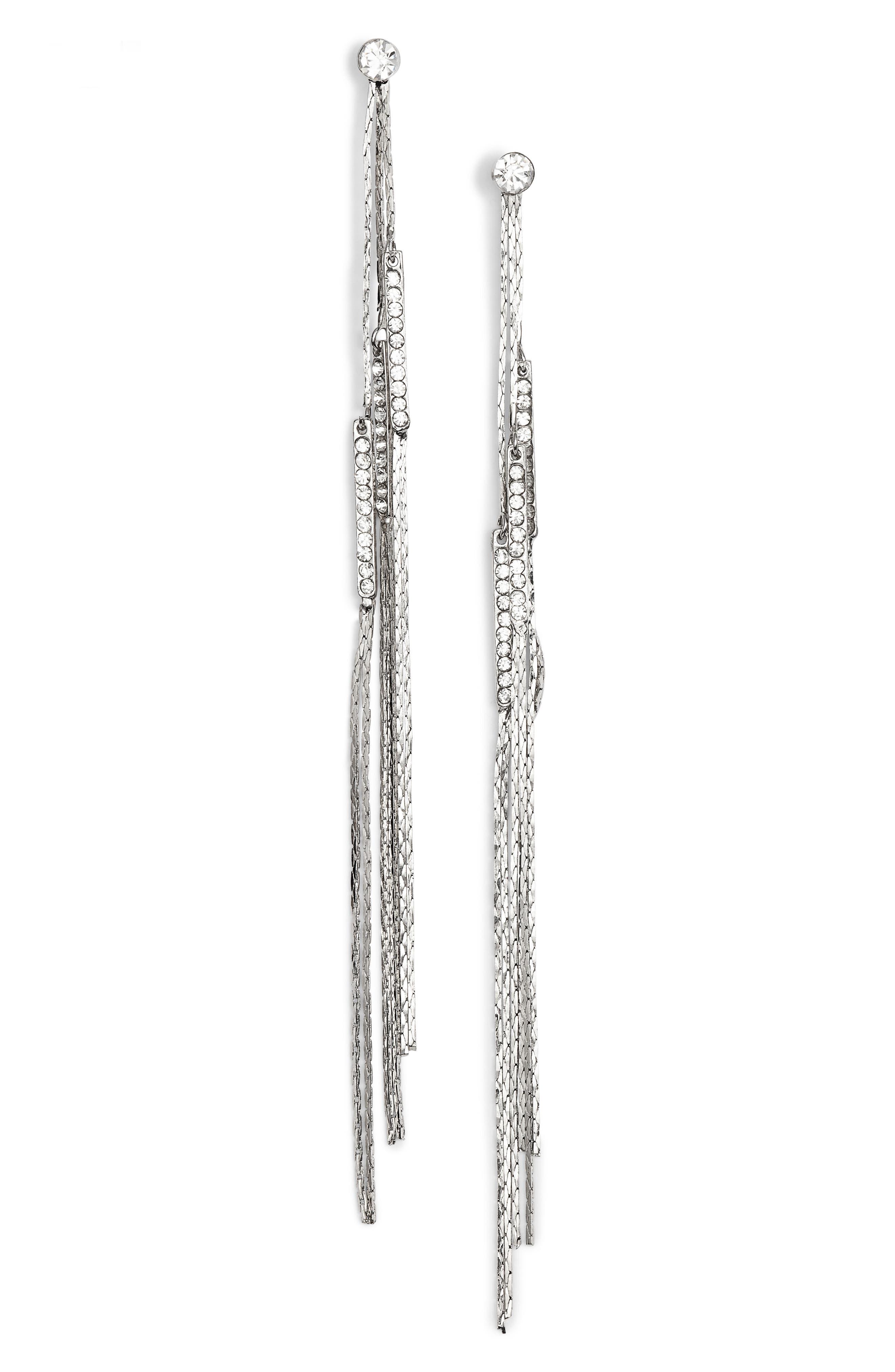 AREA STARS Eloise Crystal Linear Drop Earrings in Clear