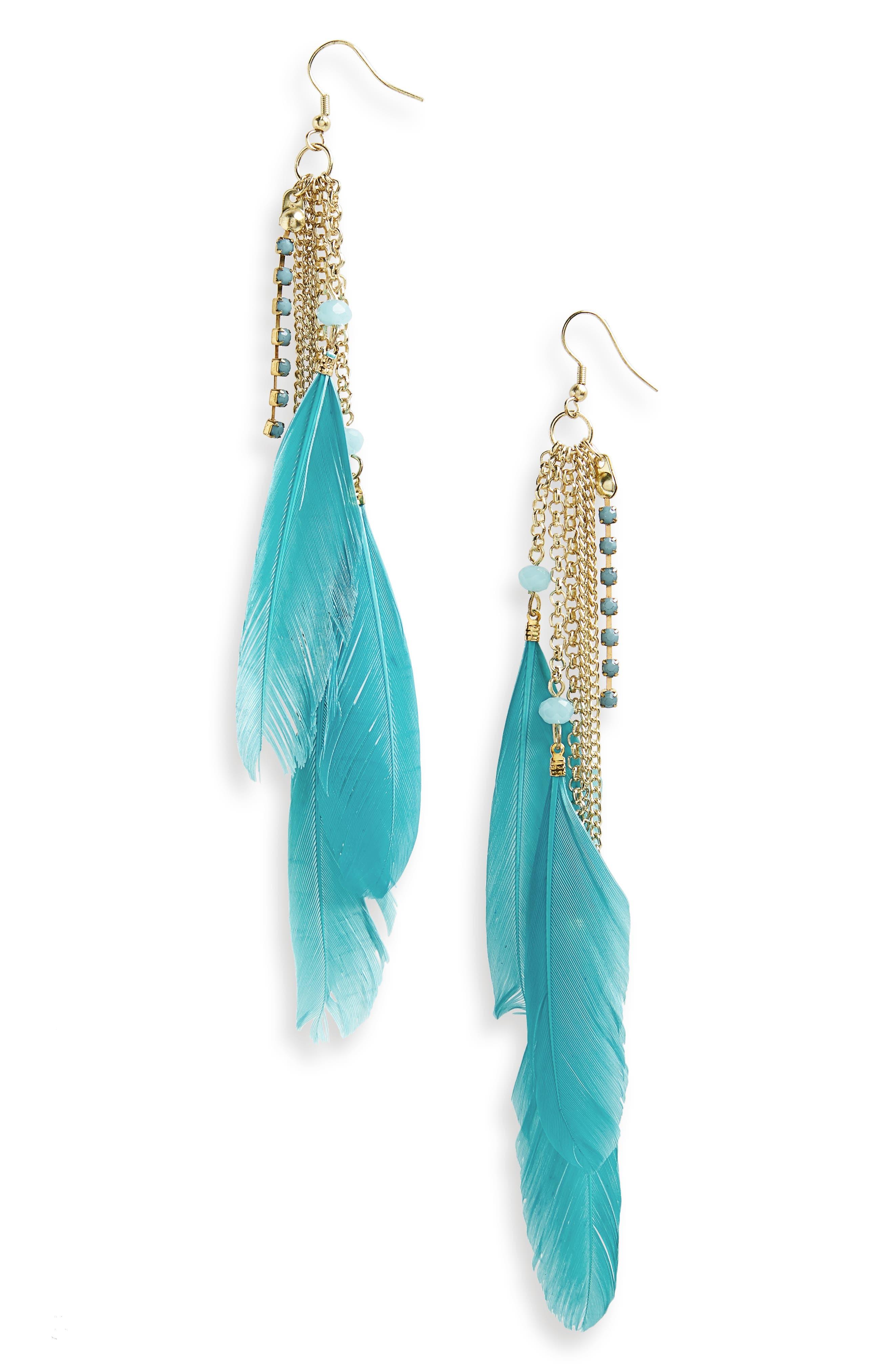 AREA STARS Chloe Feather Earrings, Main, color, 400