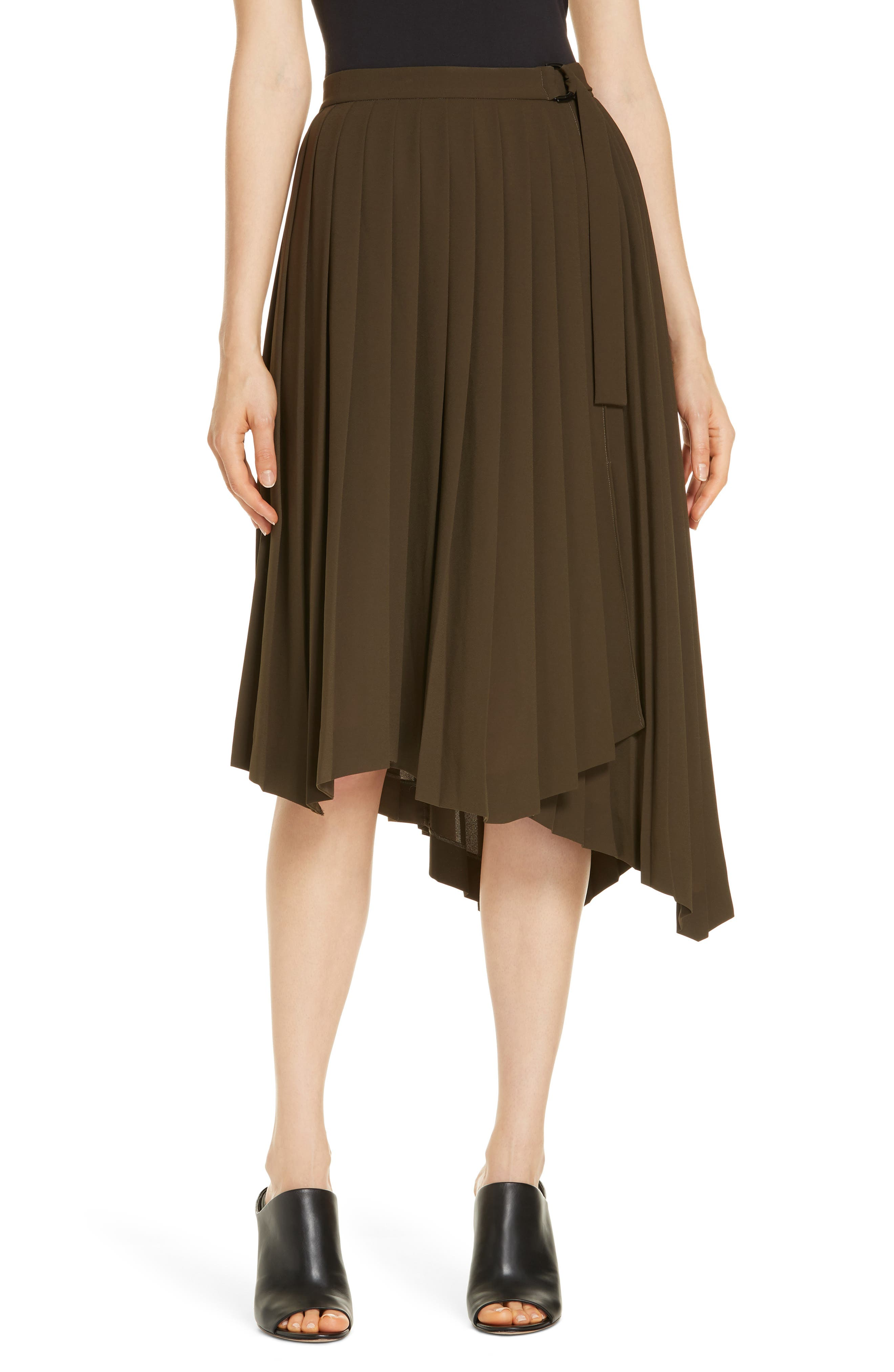 Asymmetrical Pleat A-Line Skirt,                         Main,                         color, OLIVE TUSCAN
