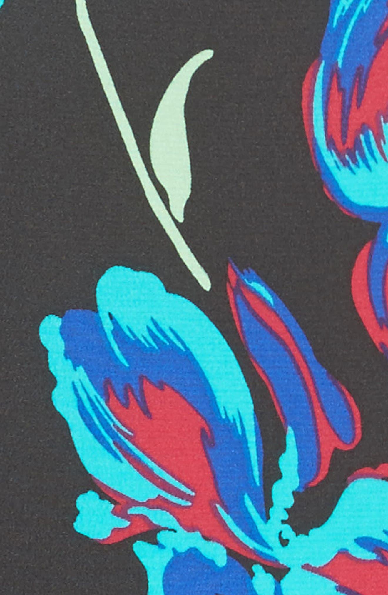 Silk Side Ruffle Sheath Dress,                             Alternate thumbnail 5, color,                             004