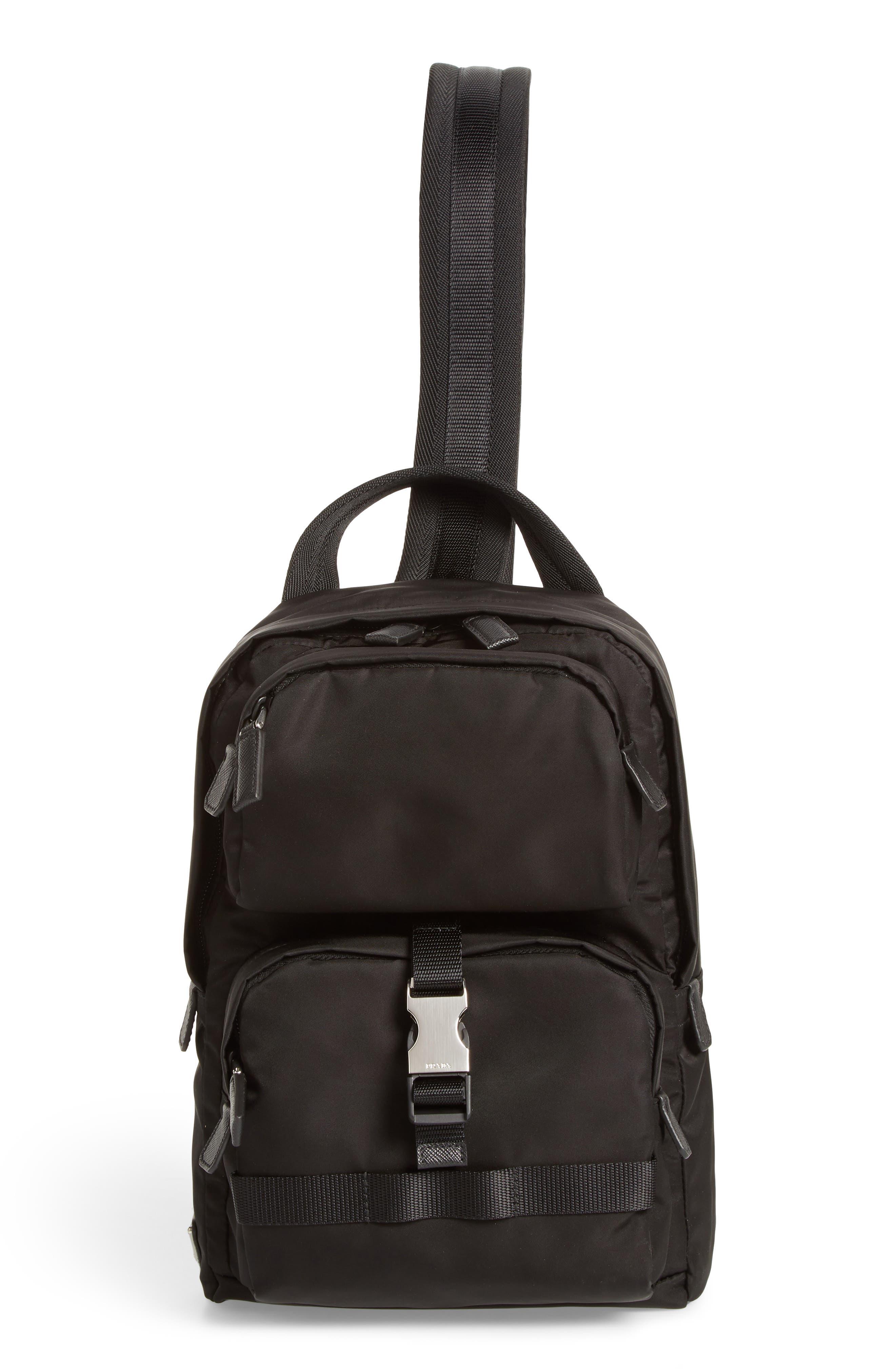 PRADA Tessuto Small Sling Bag, Main, color, 001