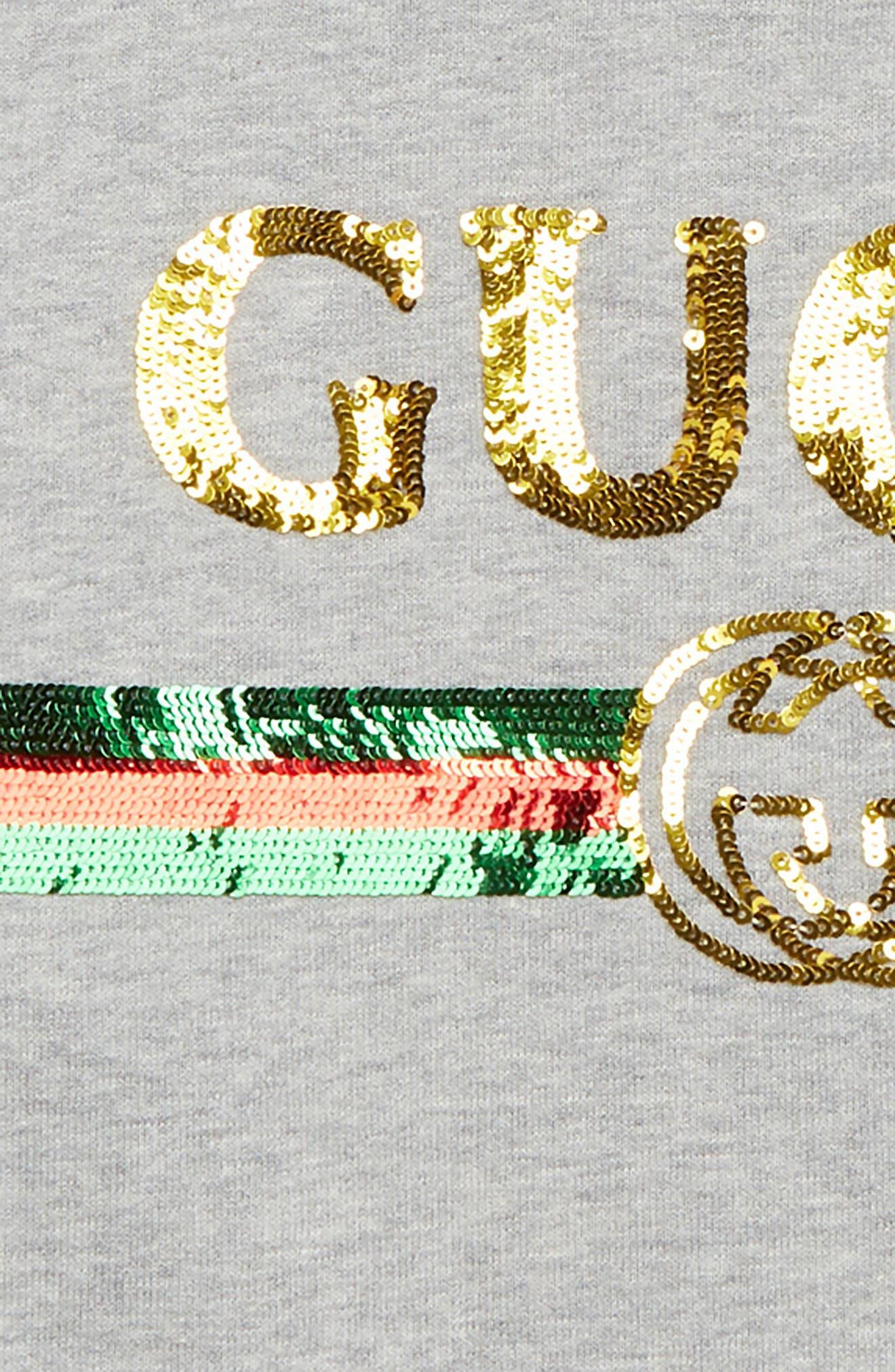 GUCCI,                             Embellished Sweatshirt,                             Alternate thumbnail 2, color,                             LIGHT GREY MELANGE