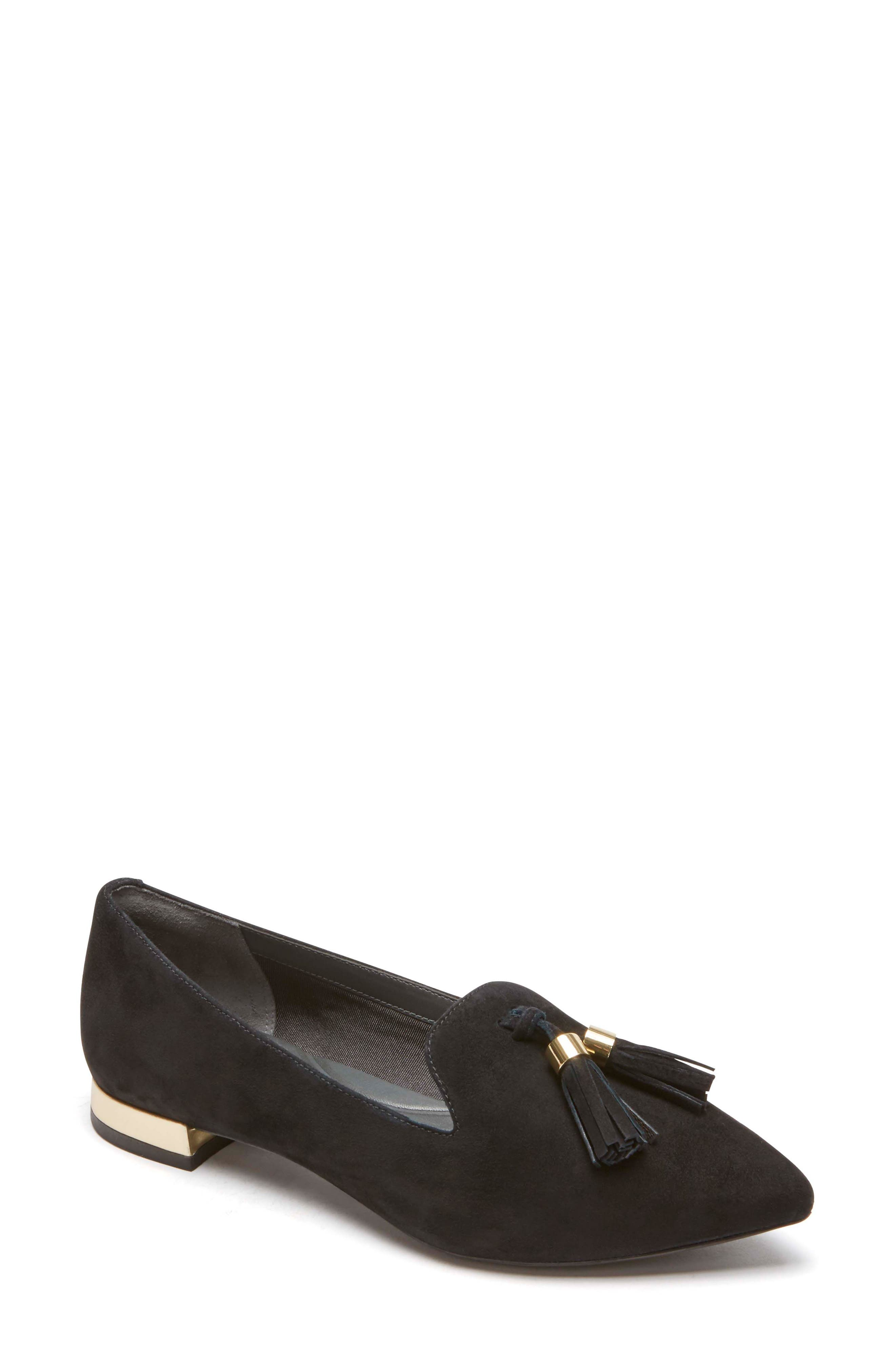 Total Motion Zuly Luxe Pointy Toe Loafer,                         Main,                         color, BLACK SUEDE