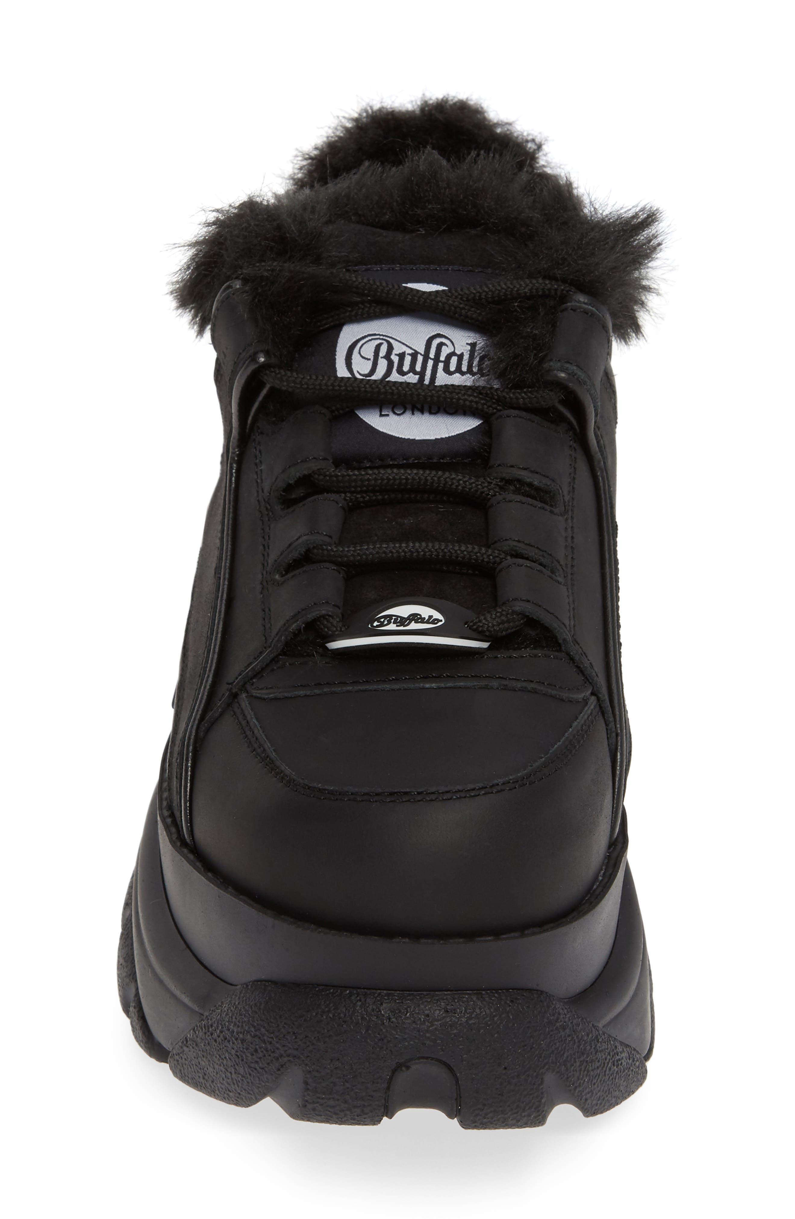 x Buffalo Platform Sneaker with Faux Fur Trim,                             Alternate thumbnail 4, color,                             001