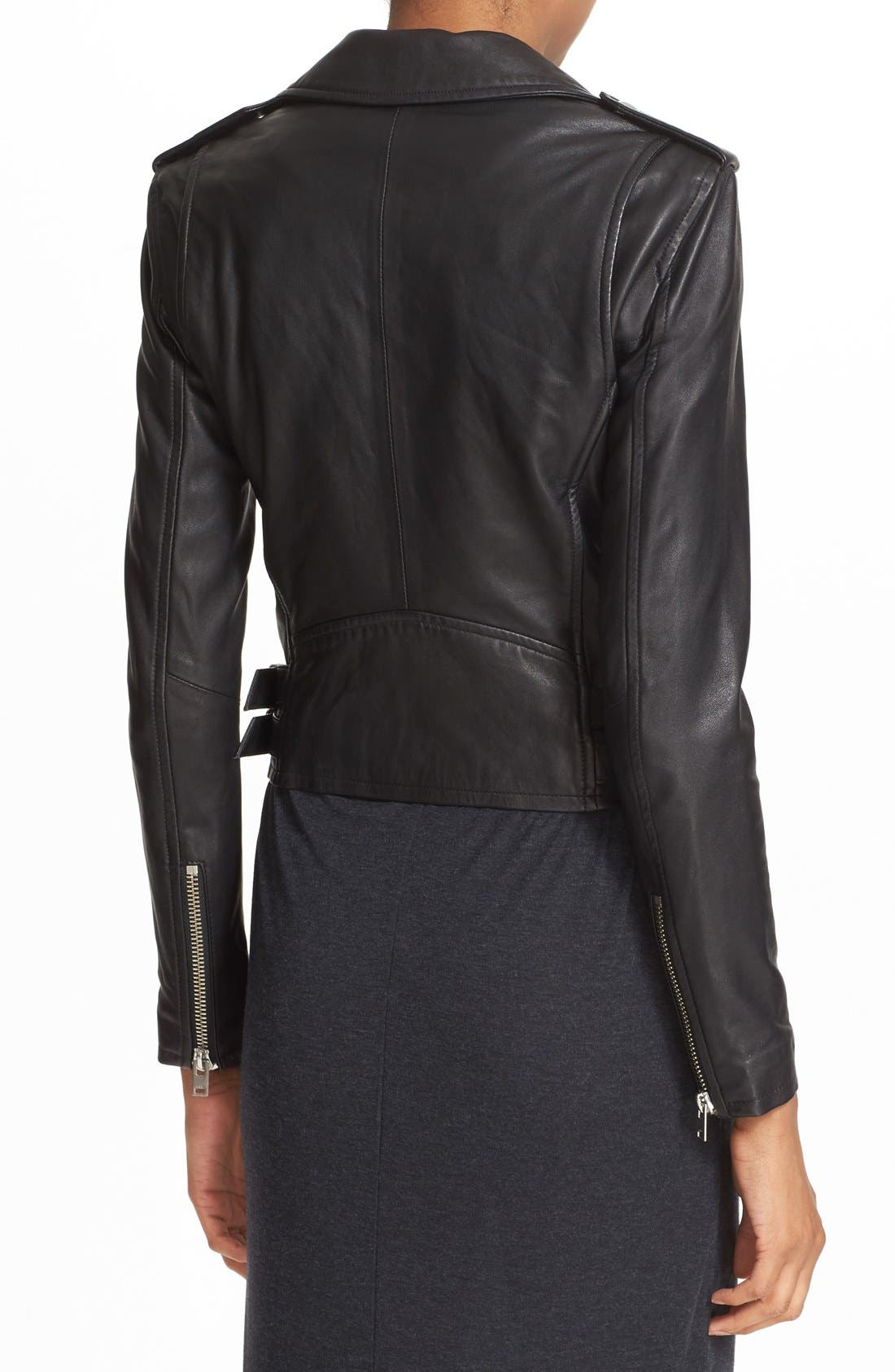 'Ashville' Lambskin Leather Moto Jacket,                             Alternate thumbnail 2, color,                             BLACK