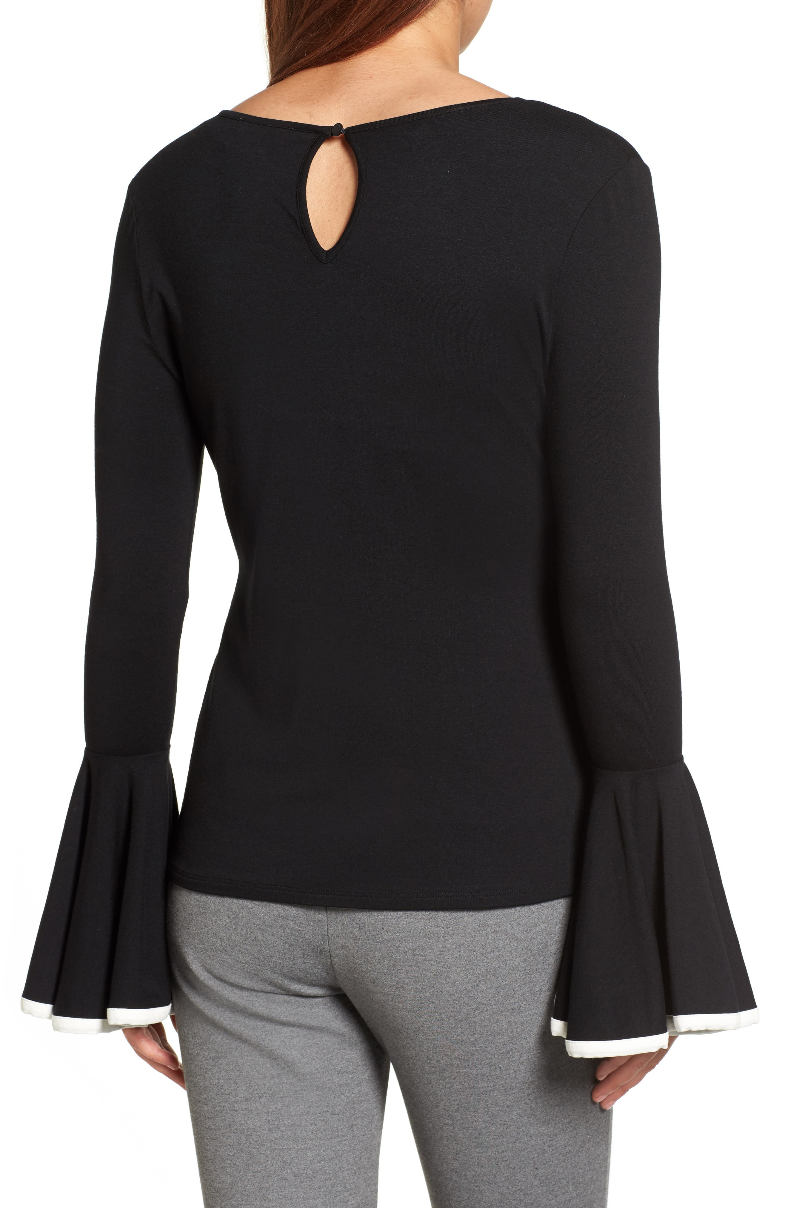 Tipped Bell Sleeve Top,                             Alternate thumbnail 2, color,                             006