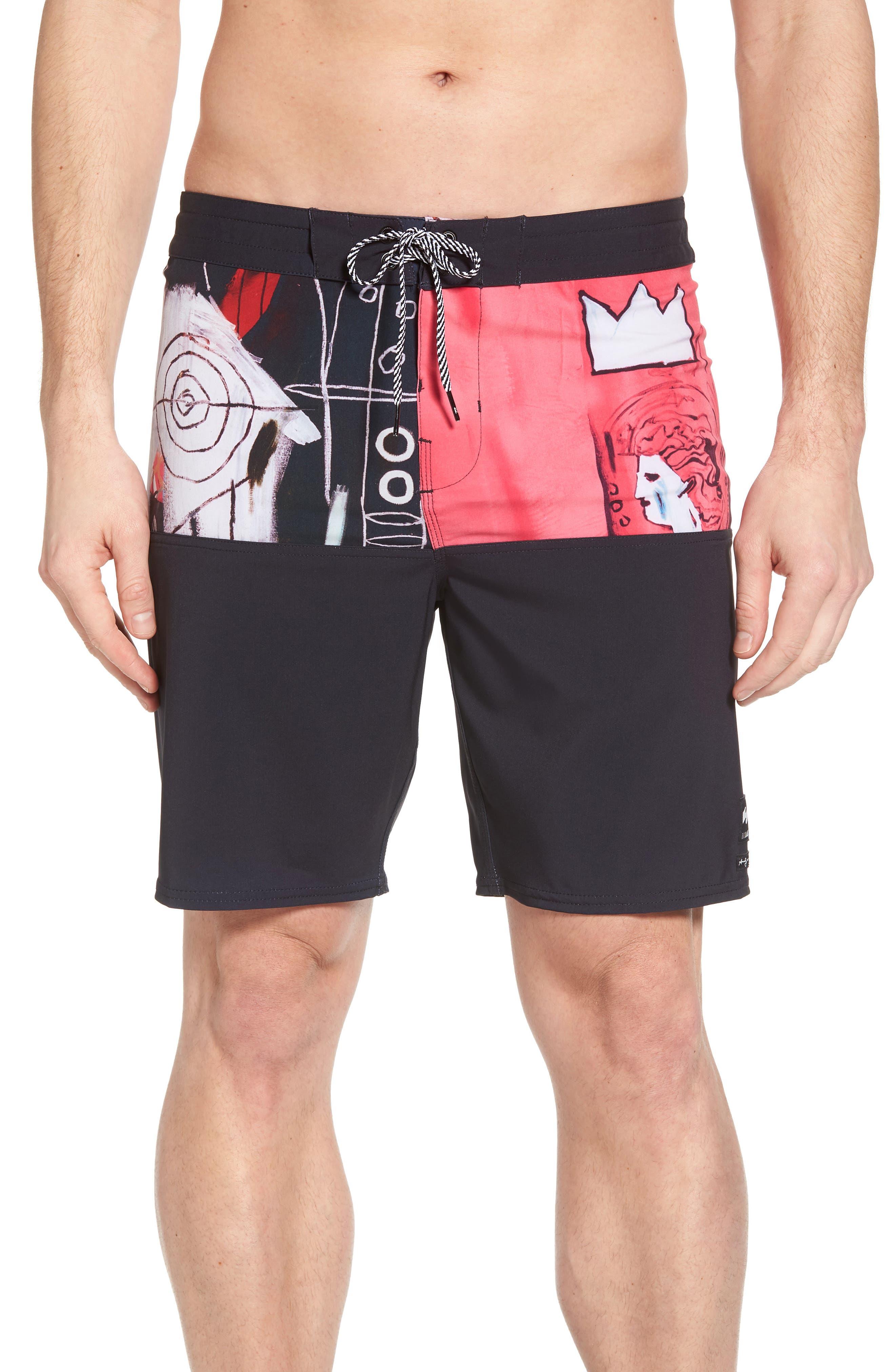 x Warhol New Flame Board Shorts,                         Main,                         color, MAGENTA