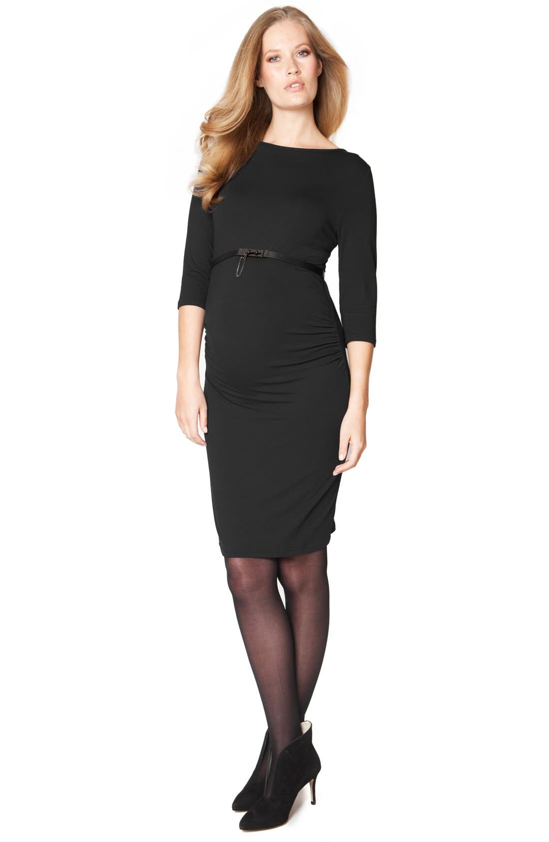 'Tessa' Ruched Shift Maternity Dress,                             Main thumbnail 1, color,                             001