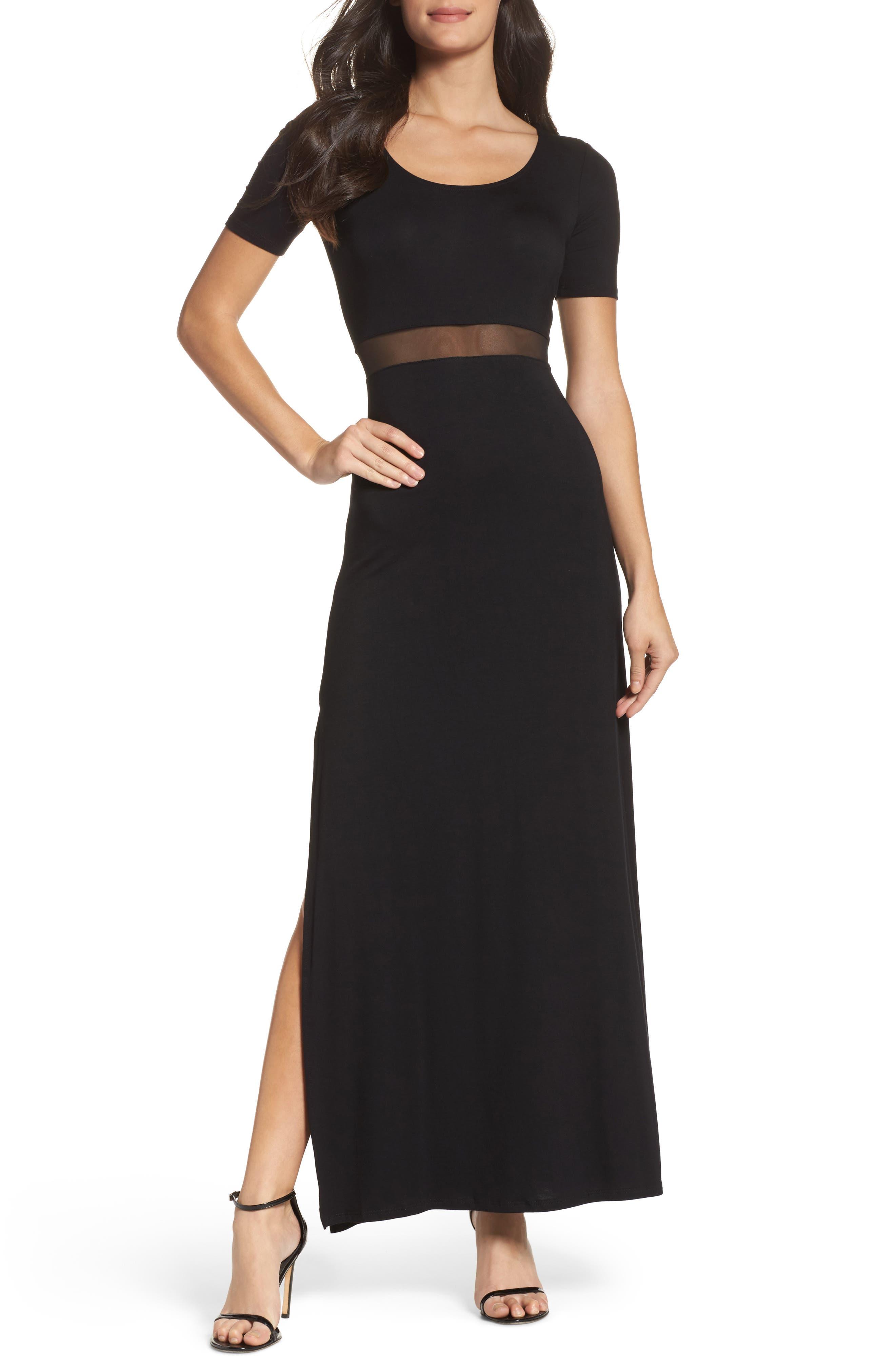 Mesh Inset Maxi Dress,                             Main thumbnail 1, color,                             010