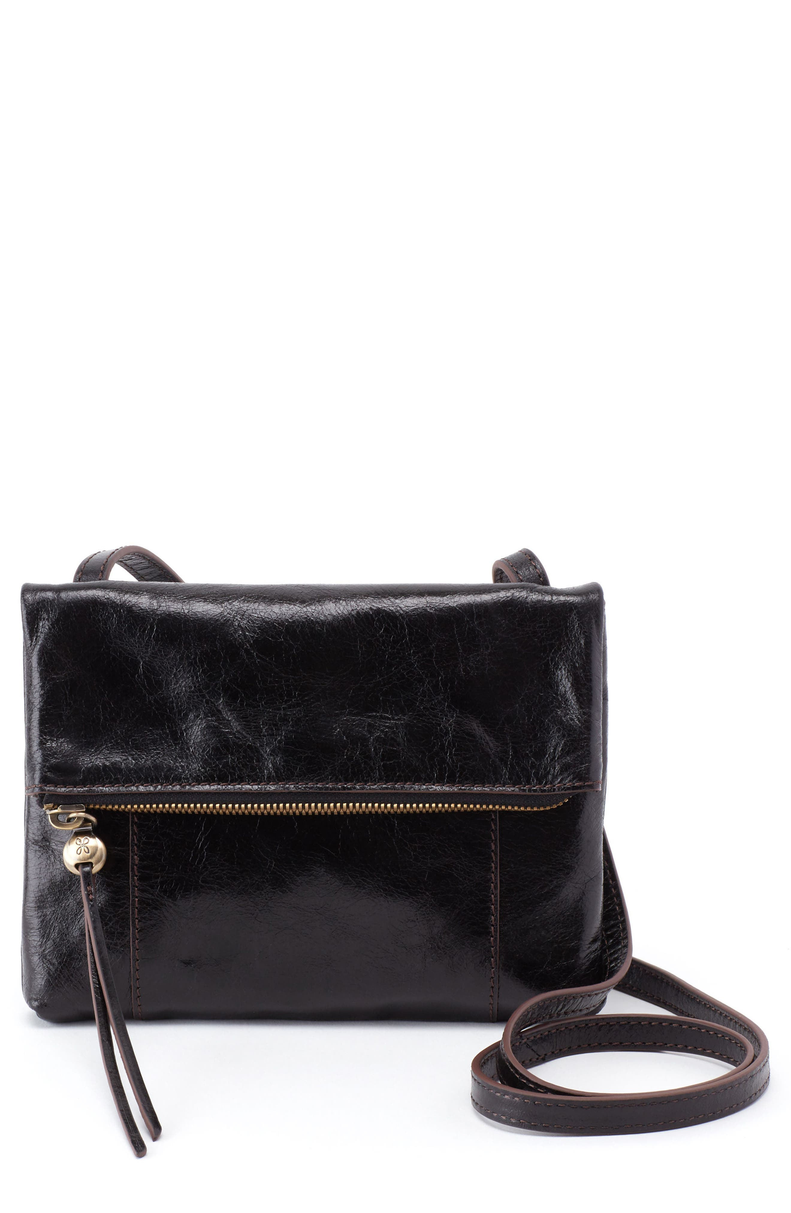 Sparrow Foldover Crossbody Bag,                         Main,                         color, BLACK