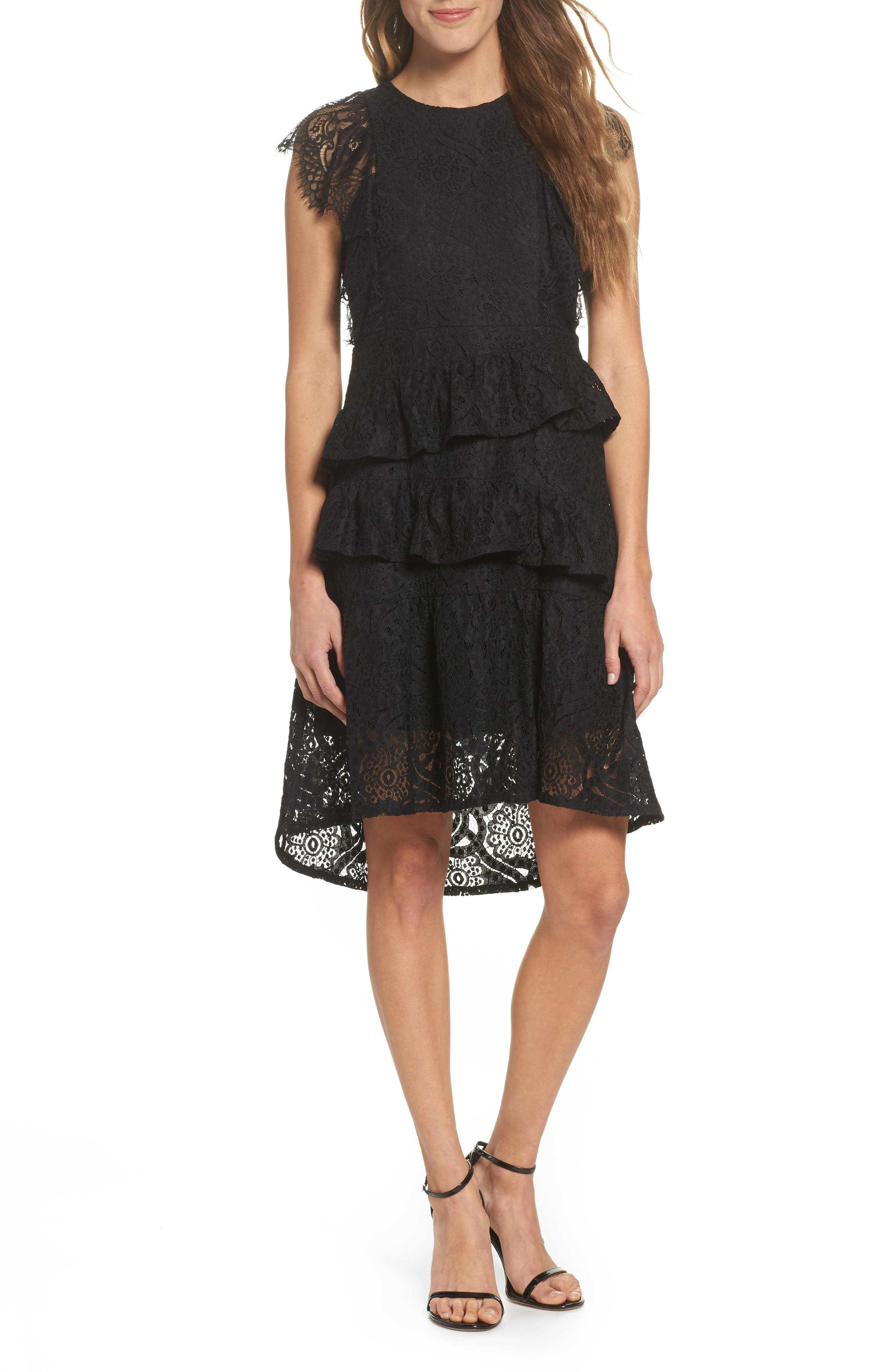 Ruffle Lace High/Low dress,                         Main,                         color, BLACK