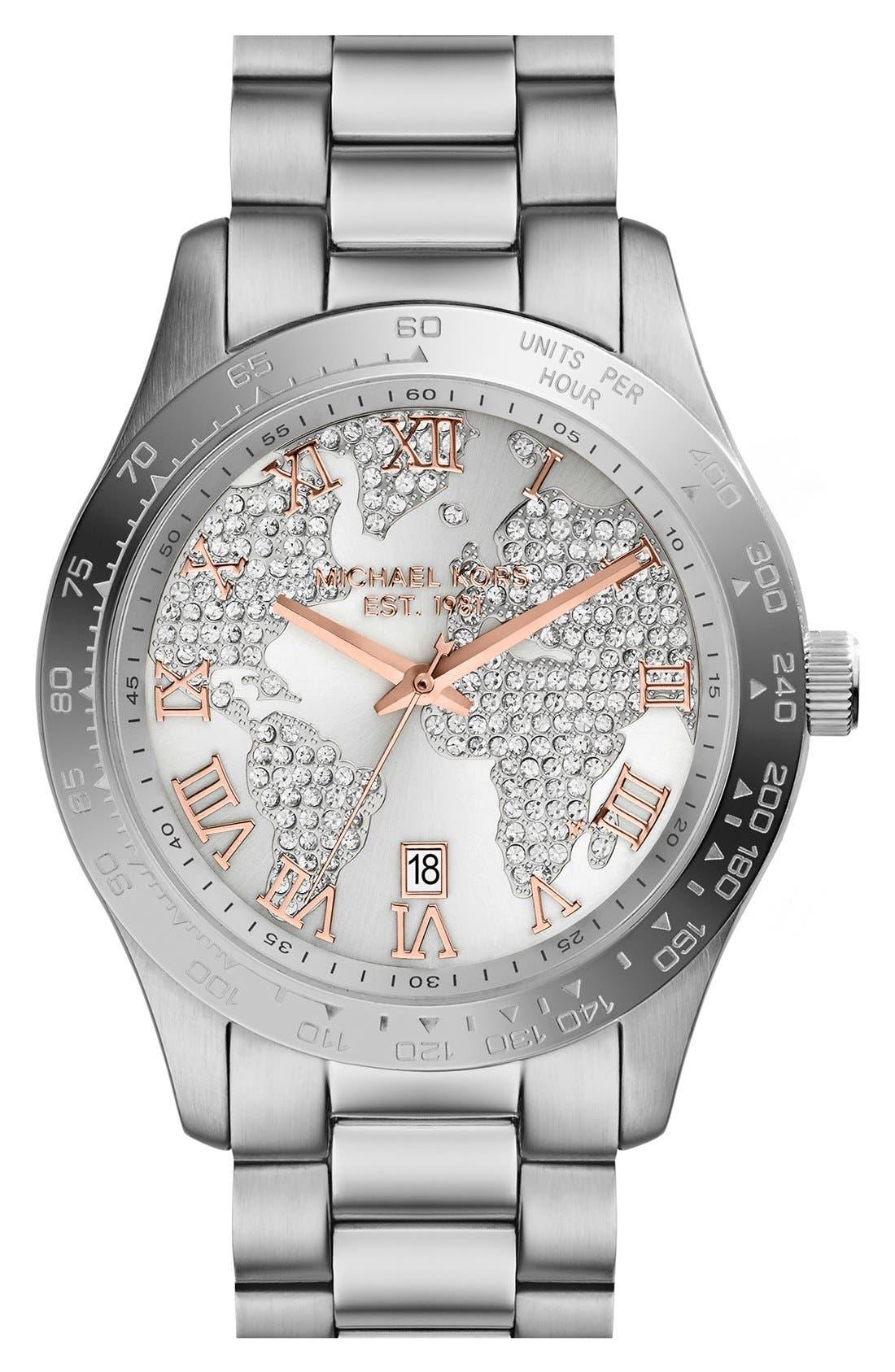 Michael Kors 'Layton' Pavé Dial Bracelet Watch, 44mm,                             Main thumbnail 1, color,                             040