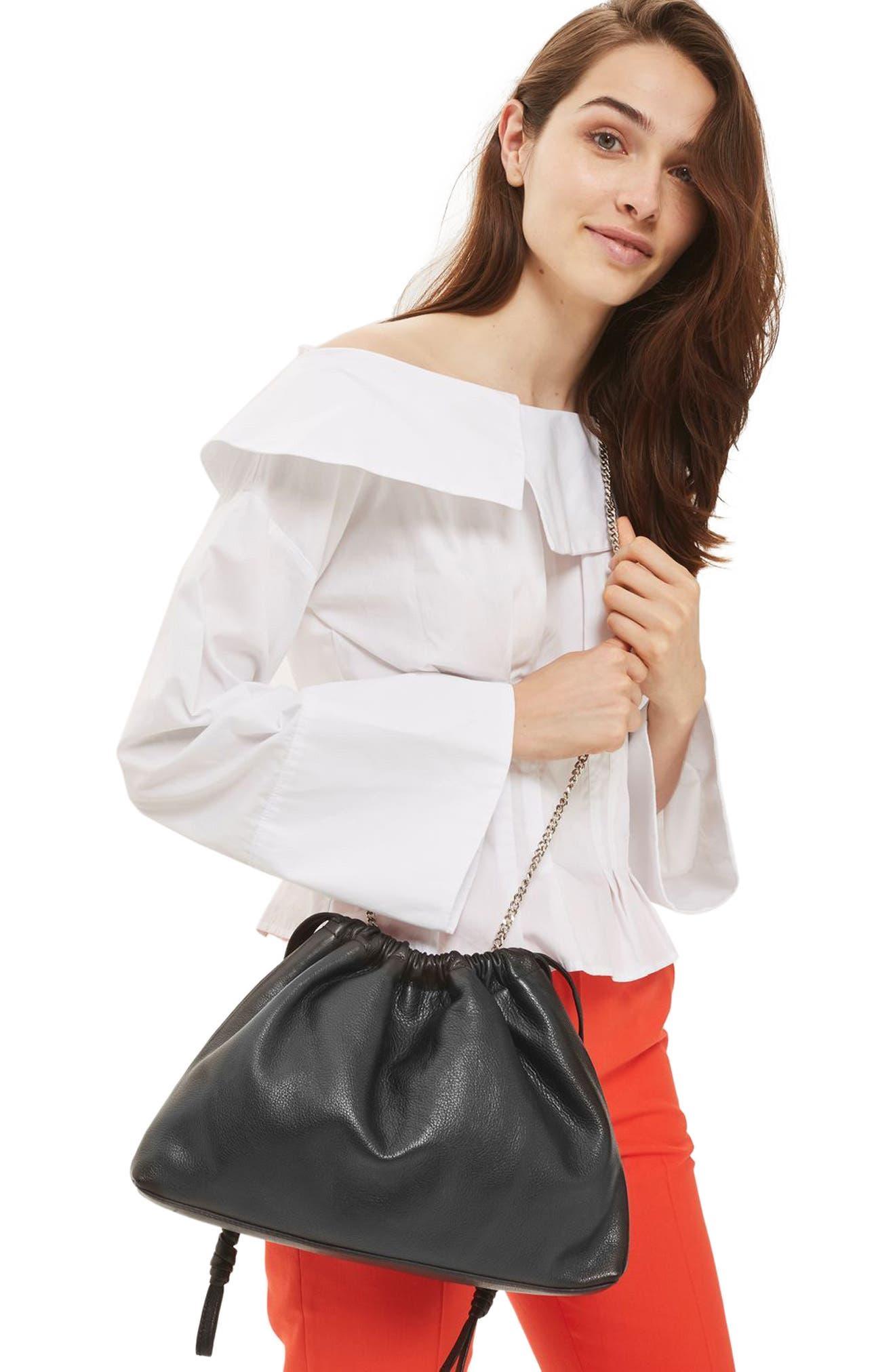 Premium Leather Drawstring Crossbody Bag,                             Alternate thumbnail 2, color,                             001