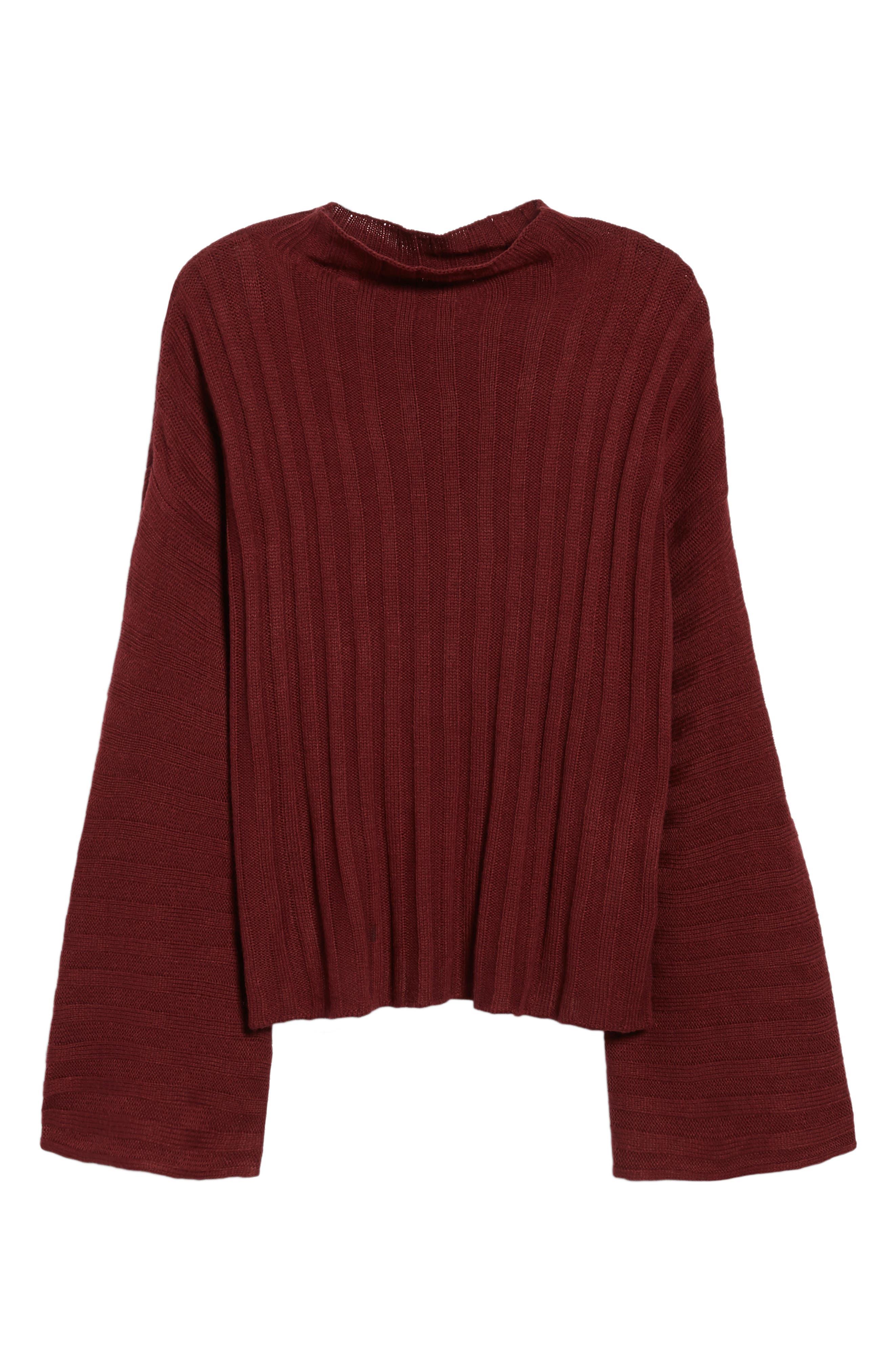 Wide Rib Mock Neck Sweater,                             Alternate thumbnail 18, color,