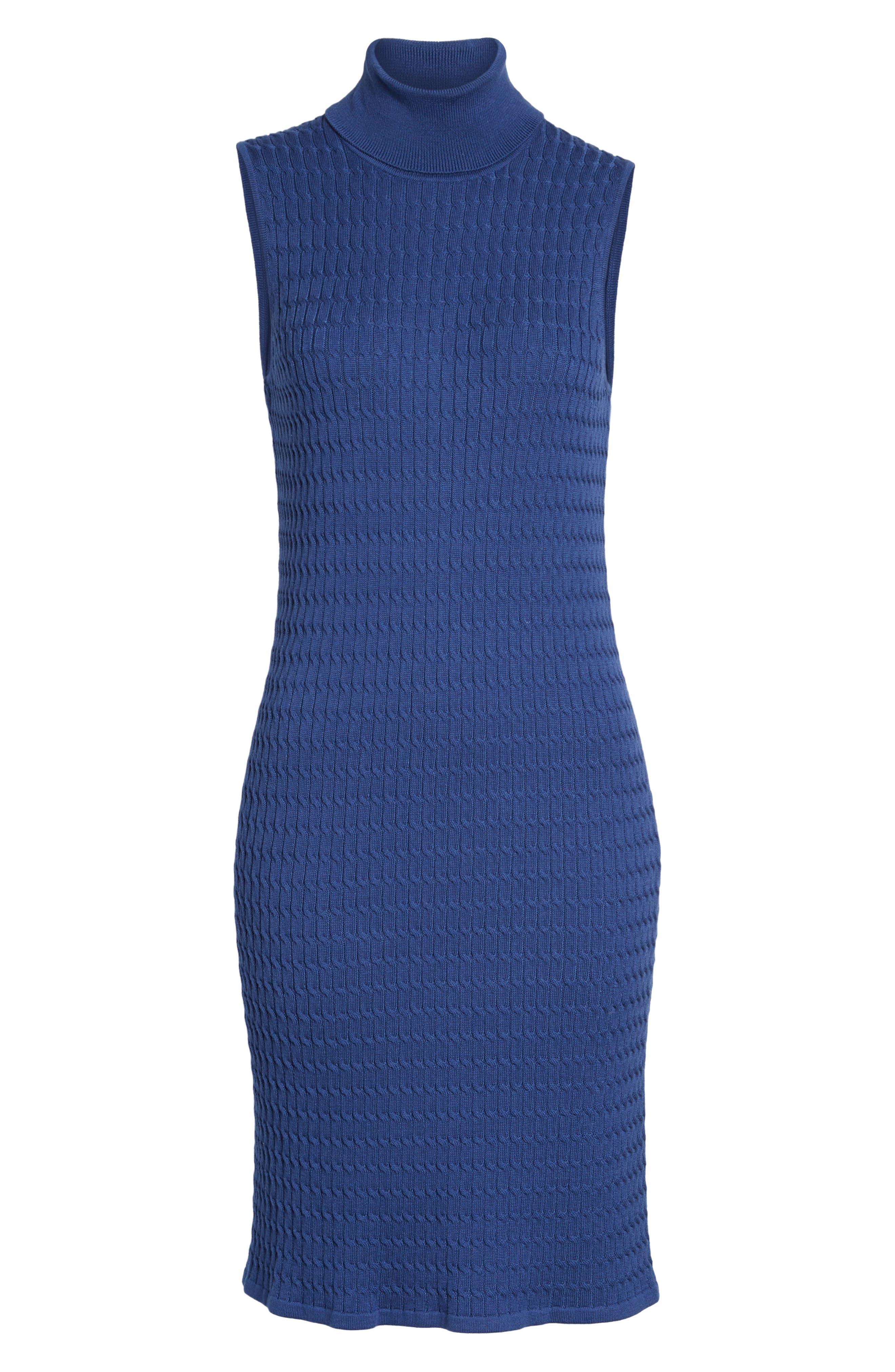 Sleeveless Turtleneck Dress,                             Alternate thumbnail 6, color,                             ECLIPSE