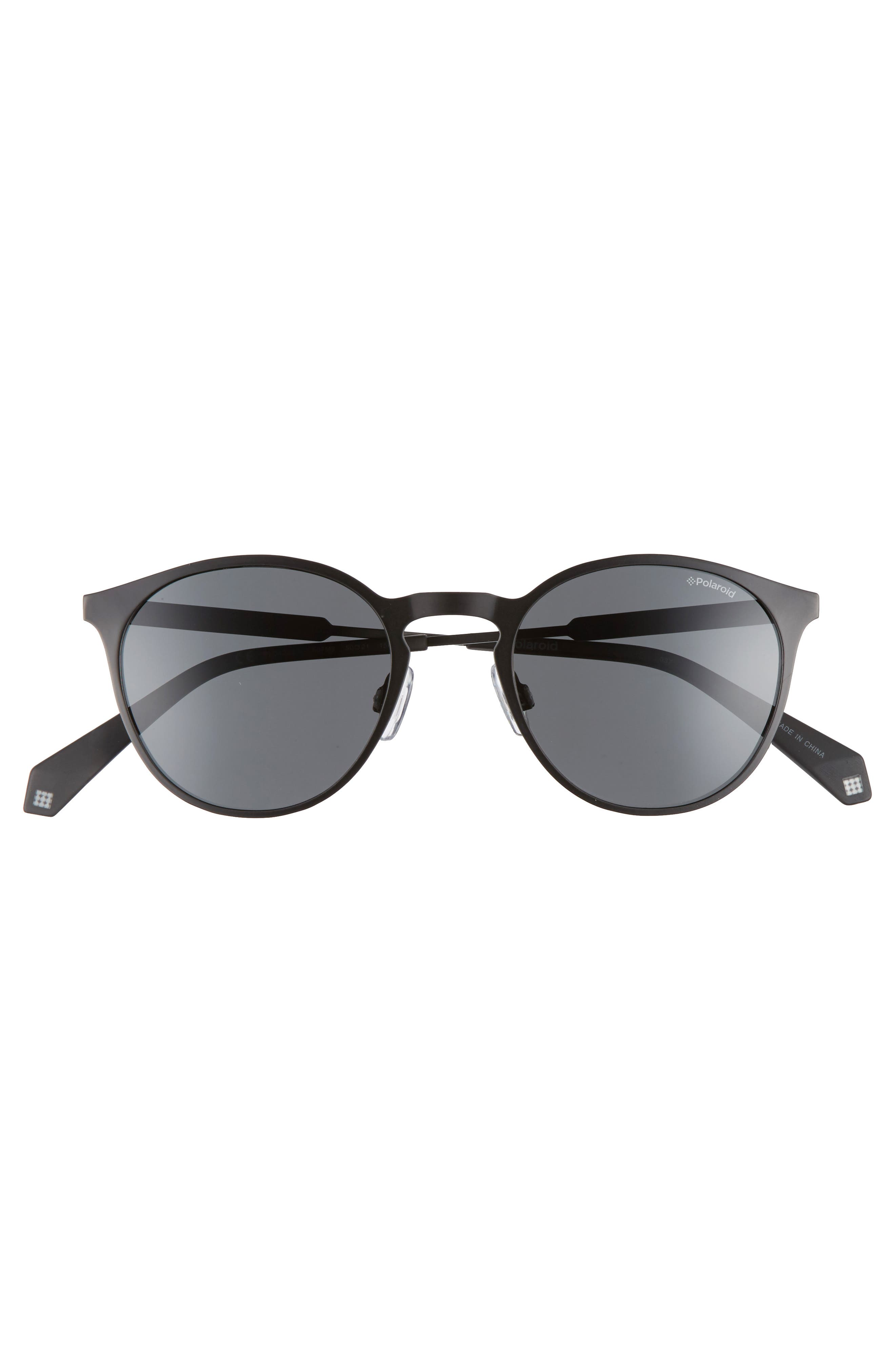 POLAROID EYEWEAR,                             Polaroid 50mm Round Polarized Sunglasses,                             Alternate thumbnail 3, color,                             002