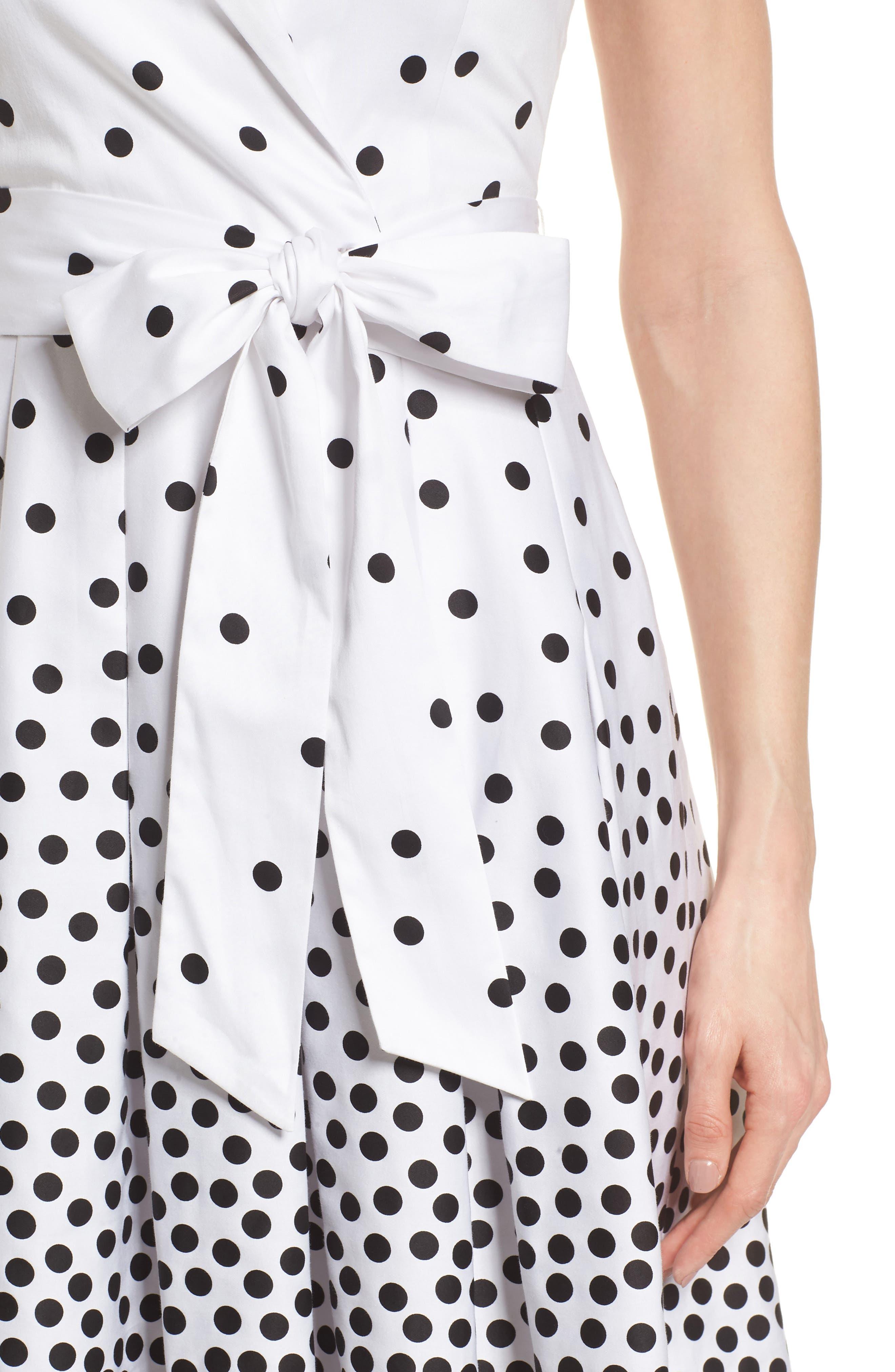 Scattered Dot Notch Collar Dress,                             Alternate thumbnail 4, color,                             100