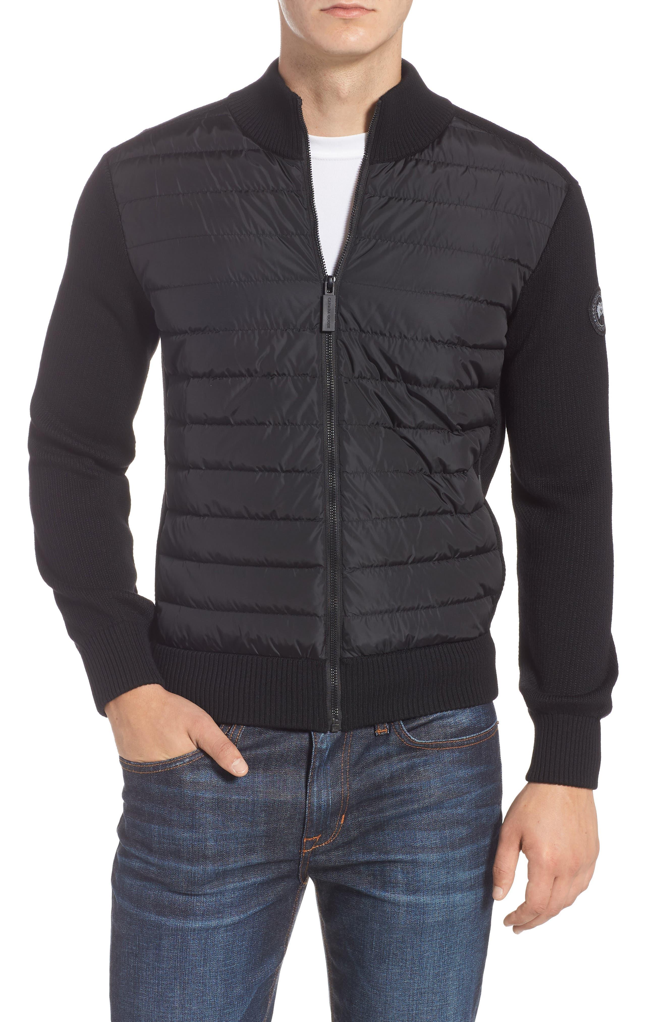 Hybridge Slim Fit Down Front Knit Jacket,                             Main thumbnail 1, color,                             BLACK