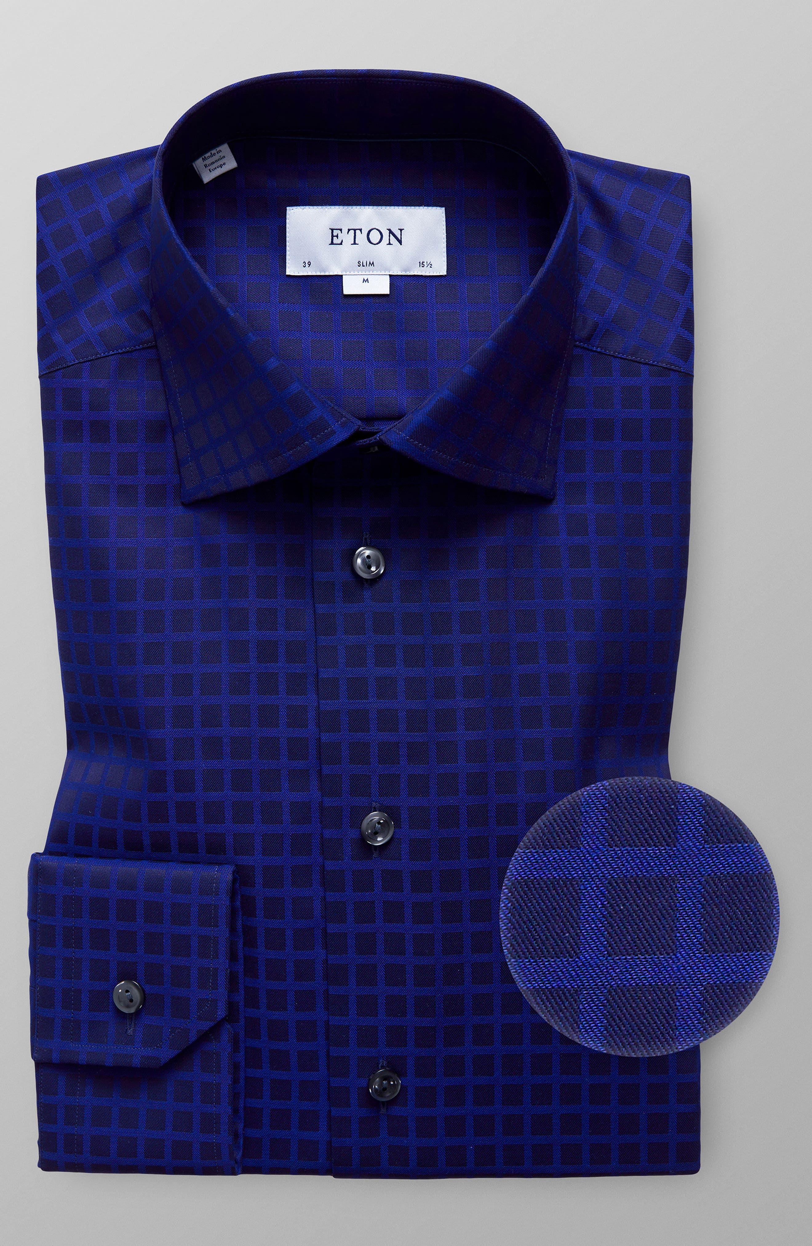 Slim Fit Check Dress Shirt,                             Alternate thumbnail 5, color,                             400