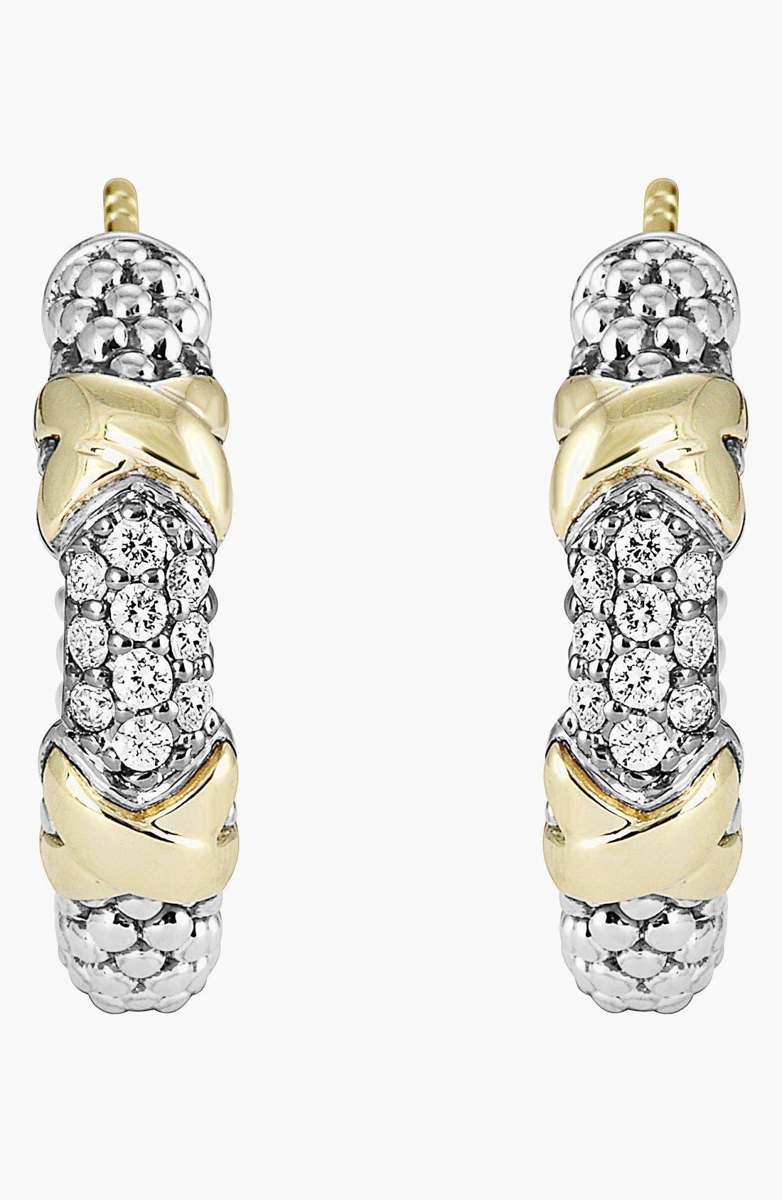 'Diamond Lux' Diamond Small Hoop Earrings,                             Alternate thumbnail 3, color,