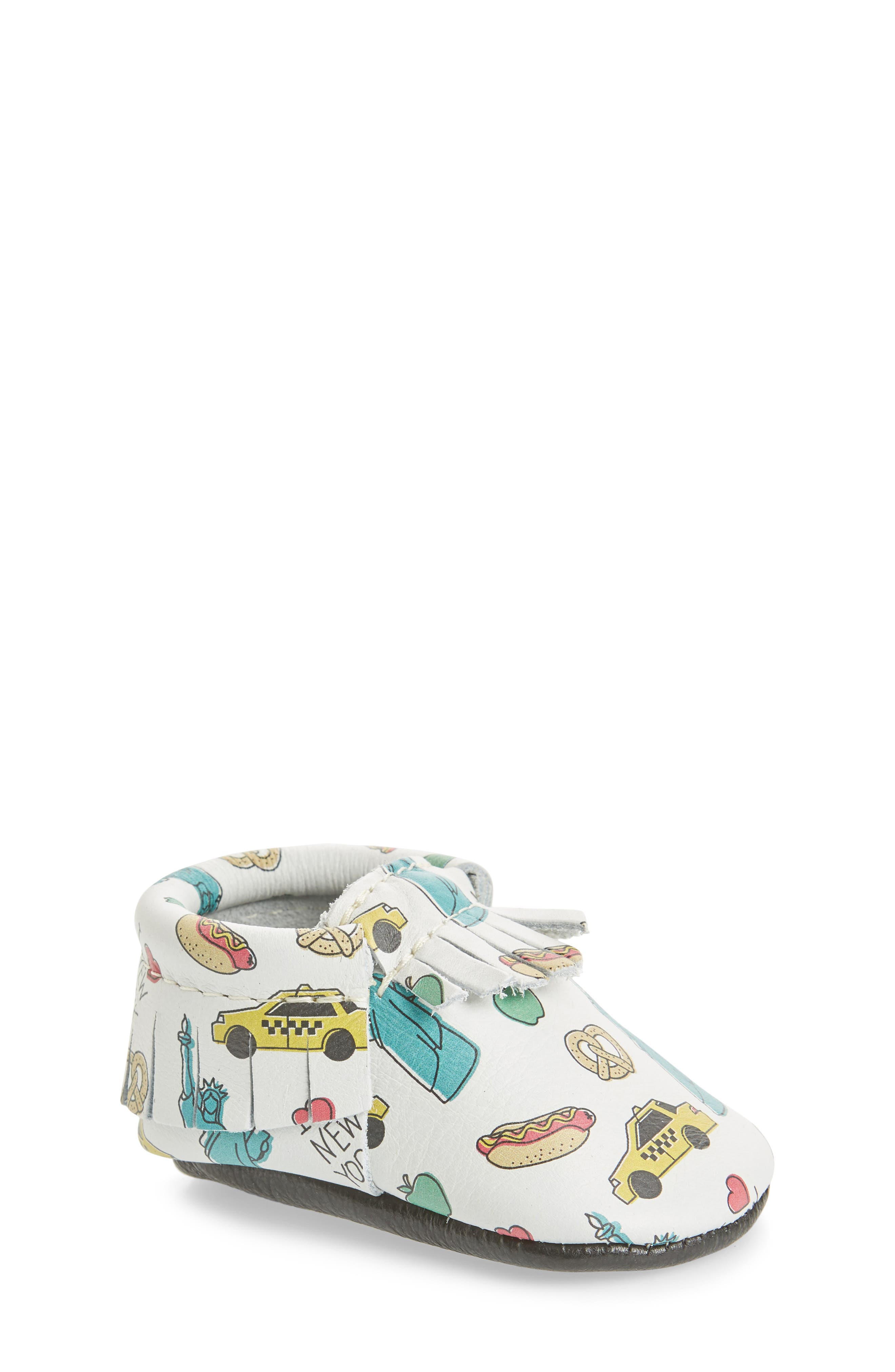 Big Apple Moccasin Bootie,                             Main thumbnail 1, color,                             PRINT LEATHER
