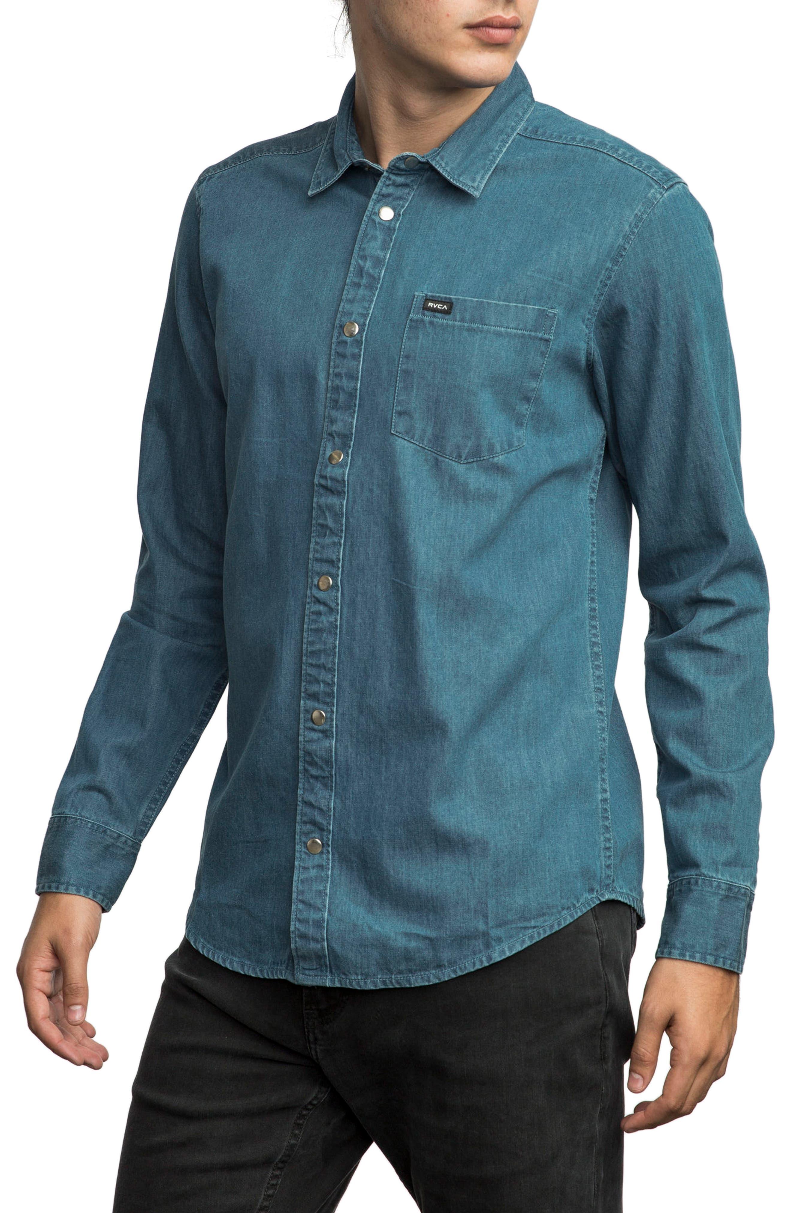 Mason Snap Front Chambray Shirt,                             Alternate thumbnail 3, color,                             418