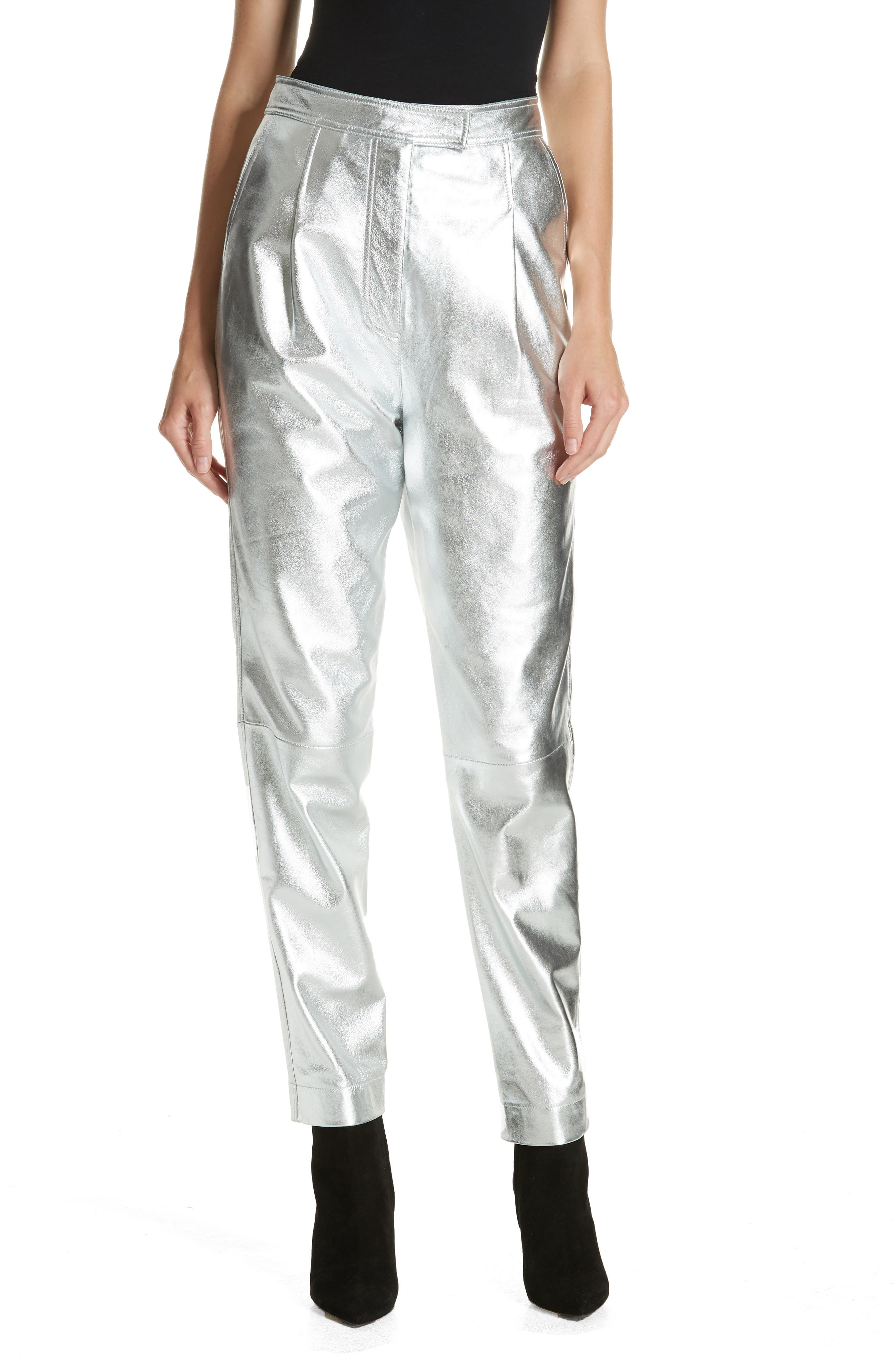 ROBERT RODRIGUEZ Metallic Leather Trousers in Silver