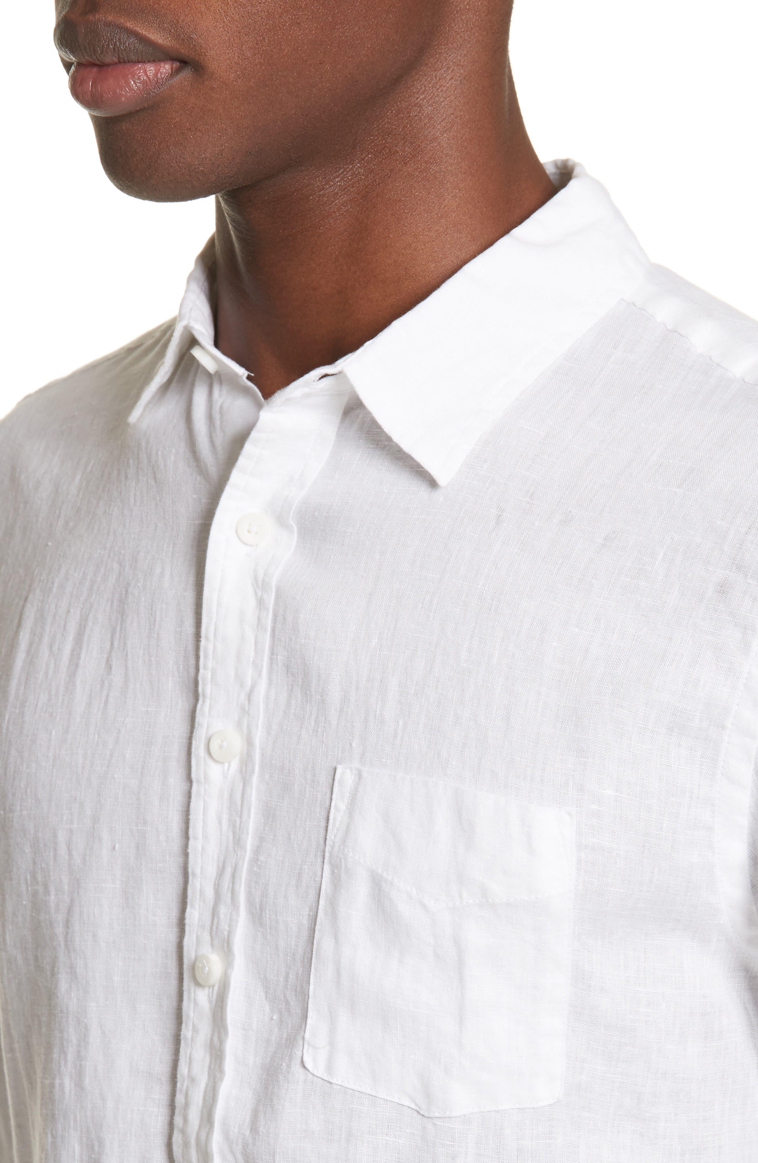 Abe Linen Shirt,                             Alternate thumbnail 4, color,                             WHITE