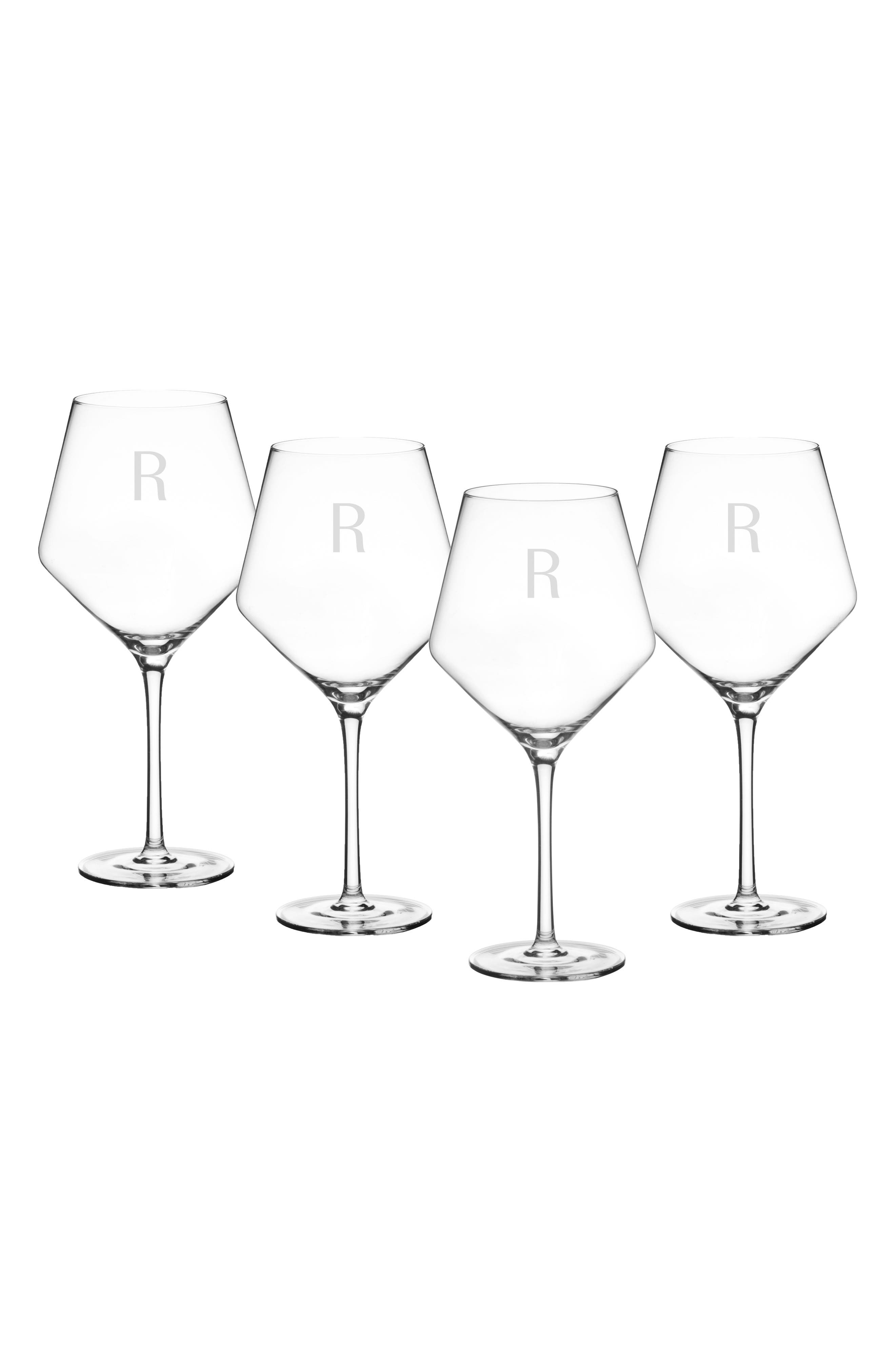 Estate Collection Set of 4 Monogram Red Wine Glasses,                             Alternate thumbnail 2, color,                             BLANK