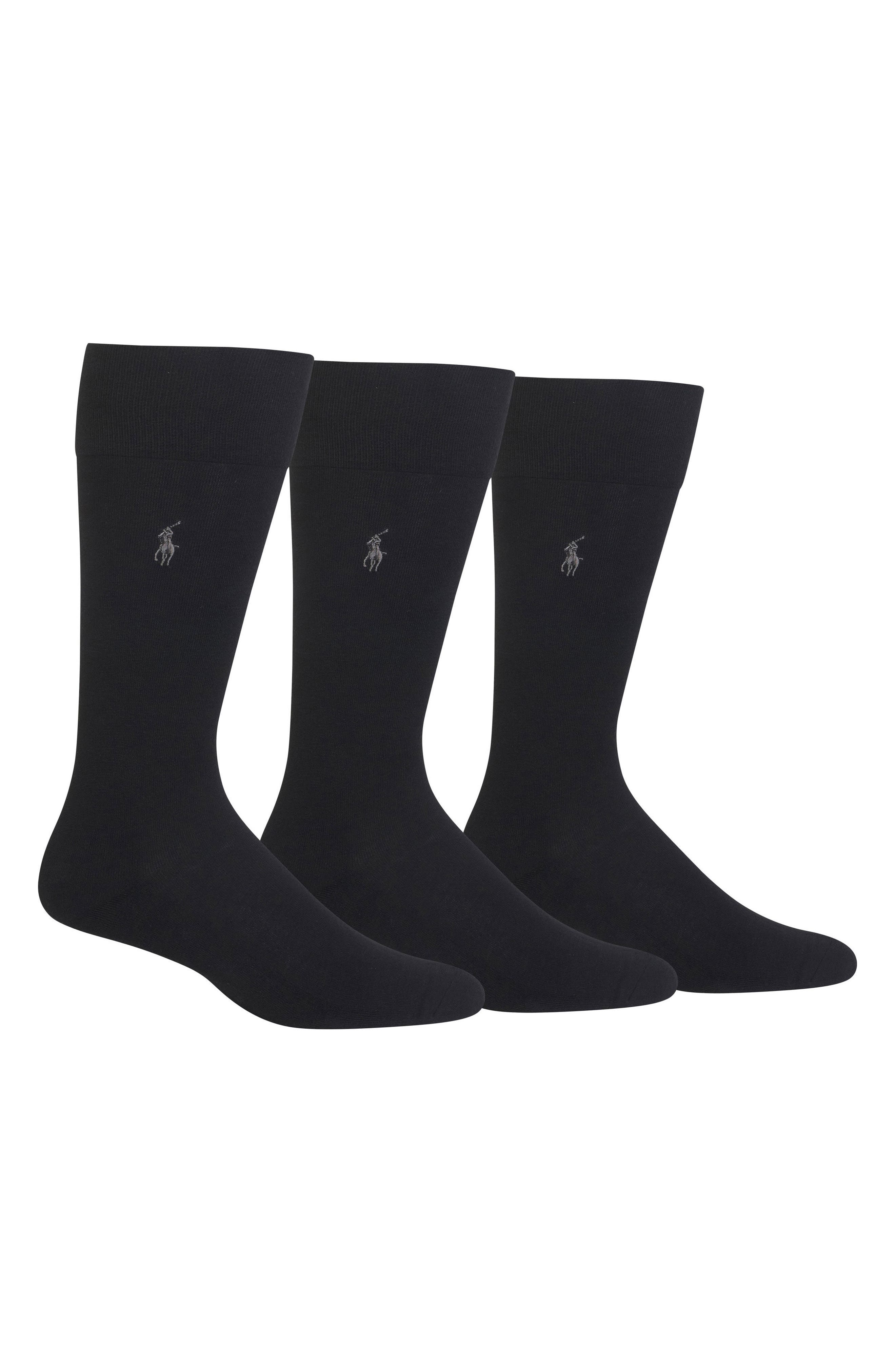 Assorted 3-Pack Supersoft Socks,                             Main thumbnail 1, color,                             BLACK