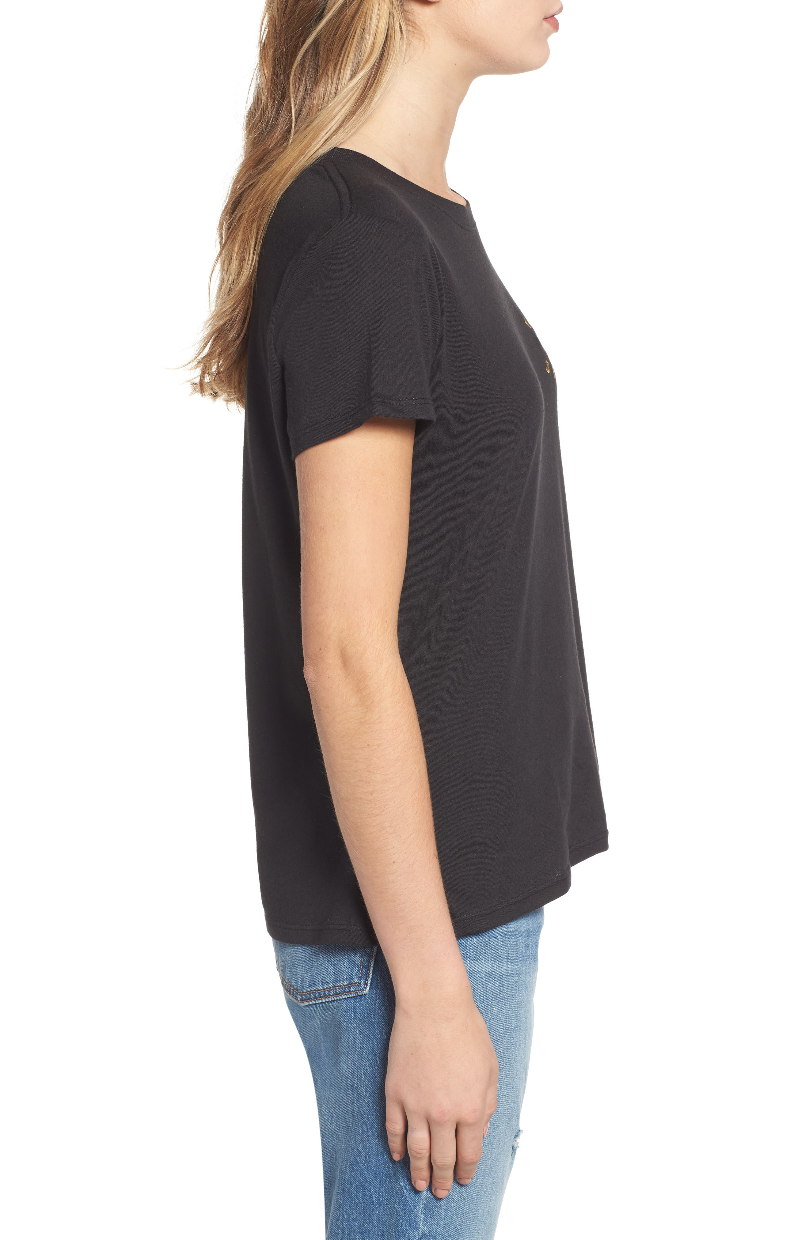 Bee Yourself Slouched Tee,                             Alternate thumbnail 3, color,                             BLACK