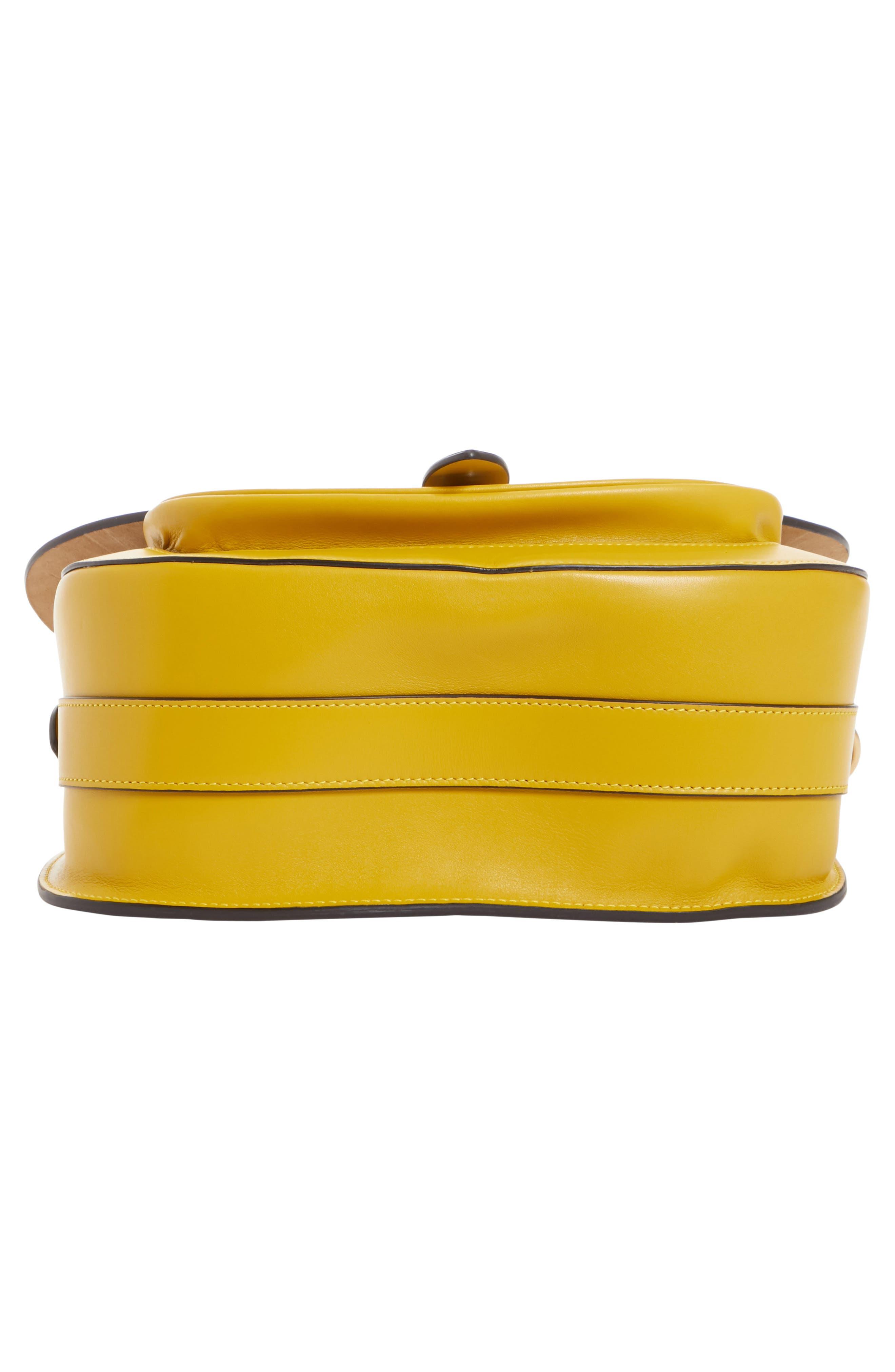 Large Bag Slide Leather Saddle Bag,                             Alternate thumbnail 6, color,                             YELLOW