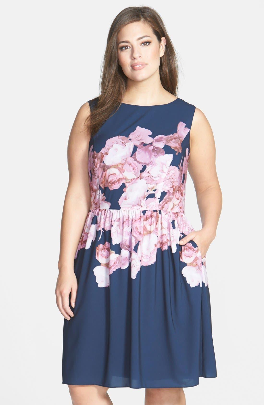 Floral Print Chiffon Fit & Flare Dress,                         Main,                         color, 463