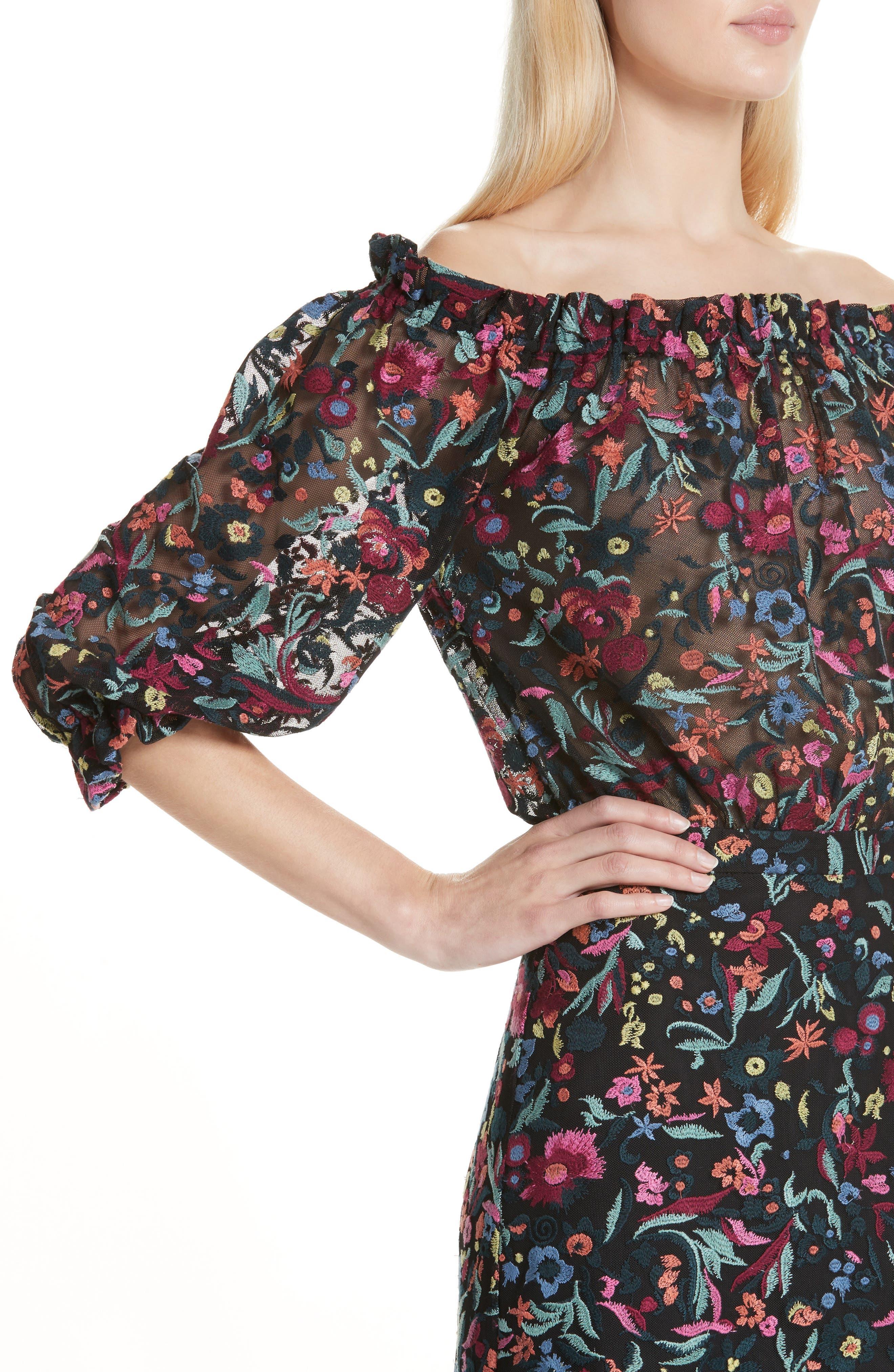 Grace Floral Embroidered Off the Shoulder Tulle Dress,                             Alternate thumbnail 4, color,                             BOUQUET NOIR