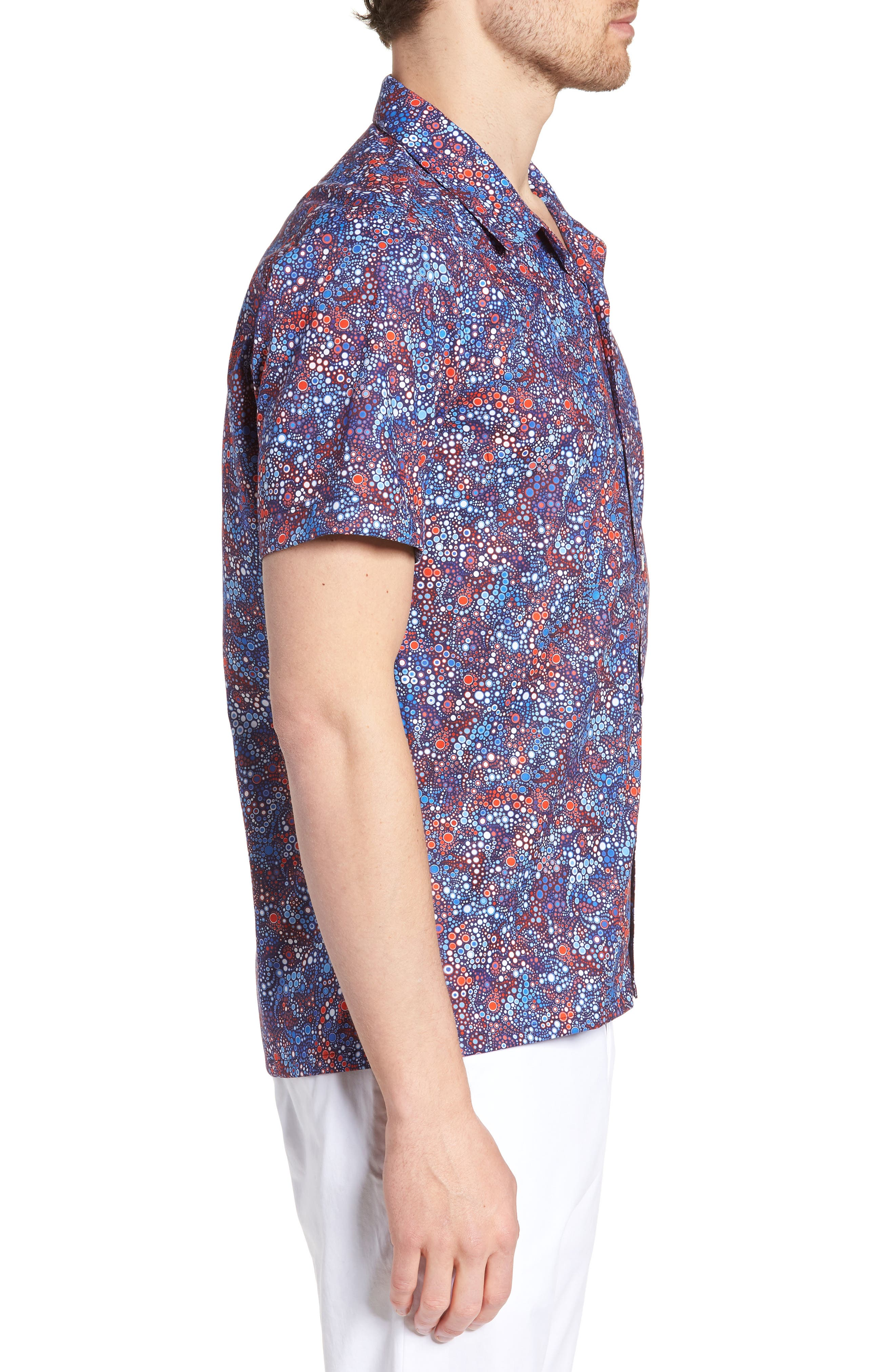 Sanibel Novelty Trim Fit Sport Shirt,                             Alternate thumbnail 3, color,                             BLUE