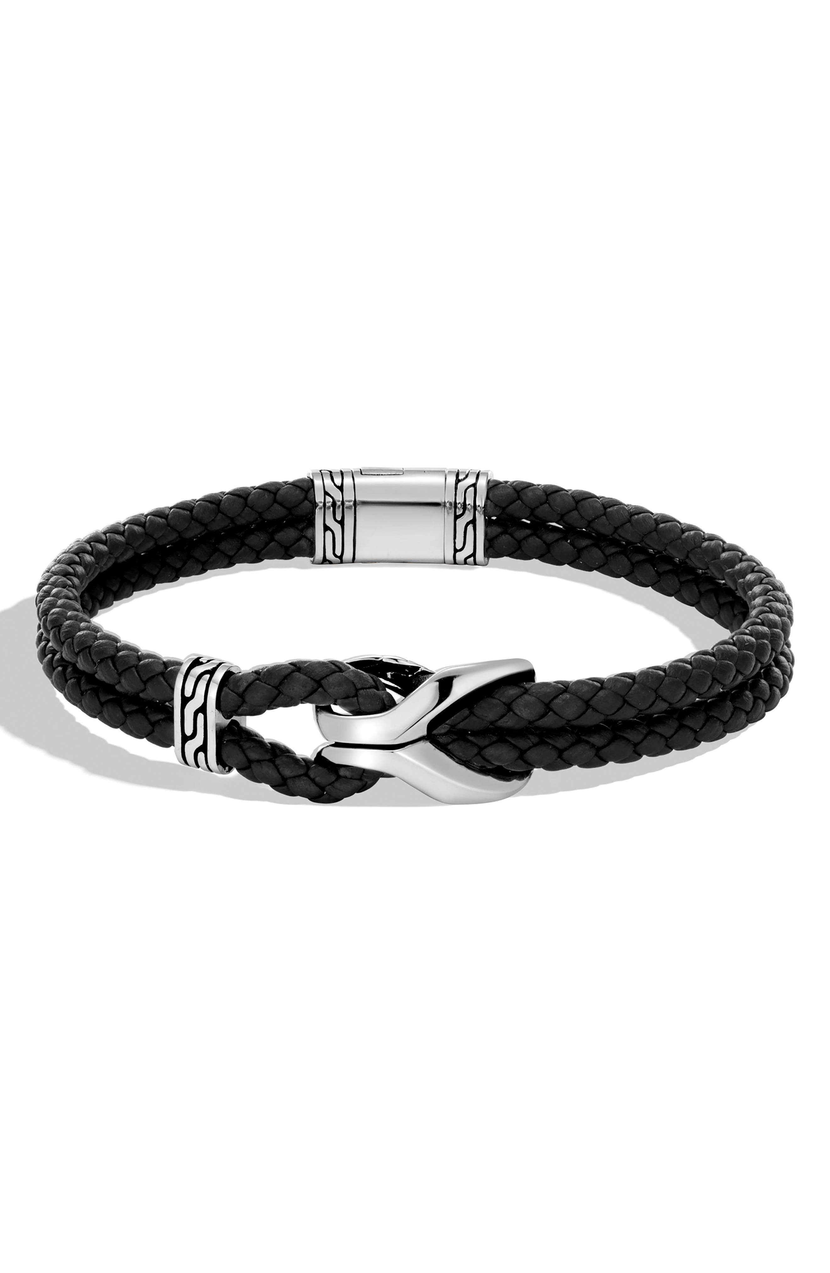 Classic Chain Leather Cord Bracelet,                         Main,                         color, SILVER/ BLACK