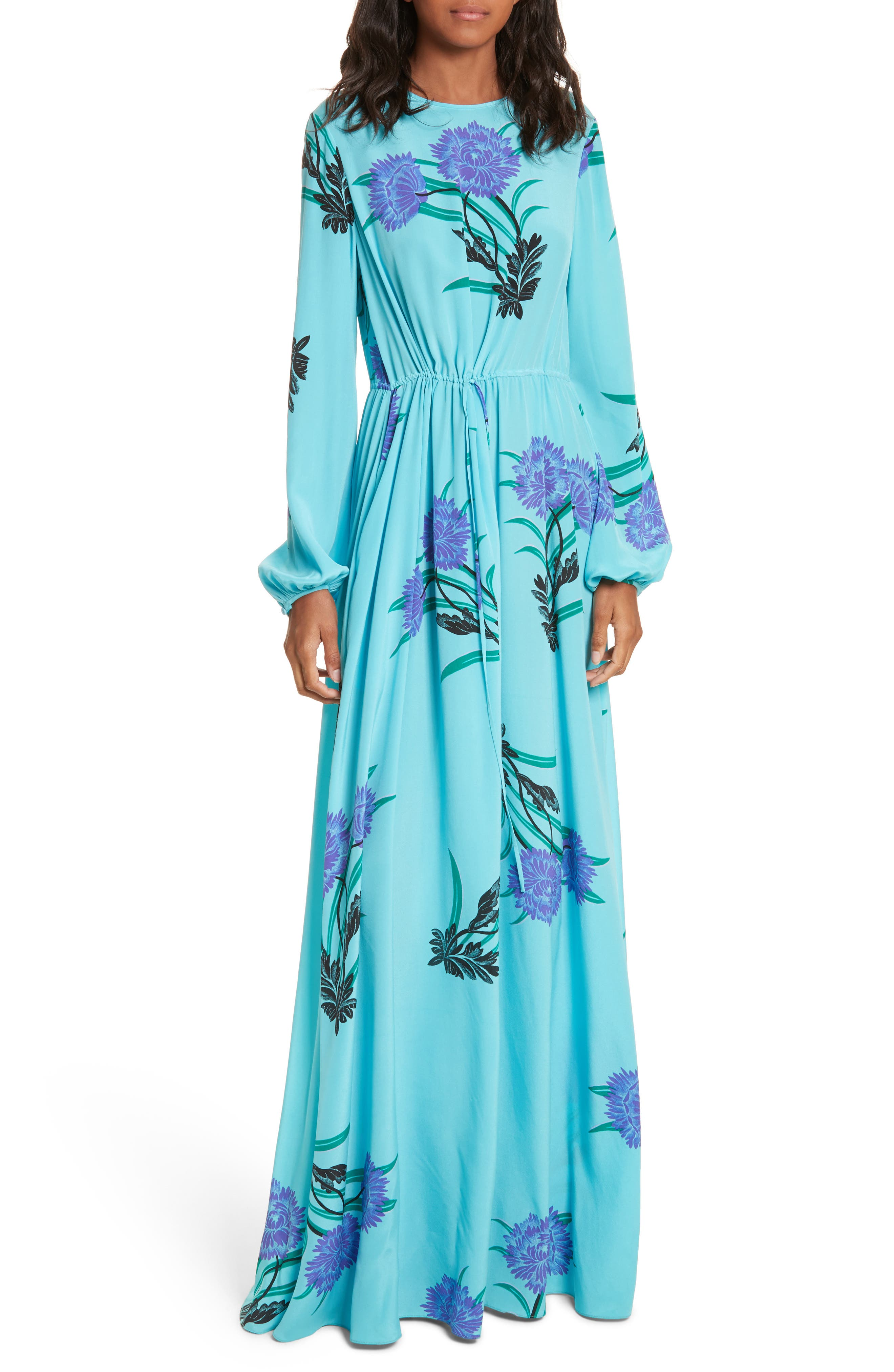 Floral Print Stretch-Silk Maxi Dress,                             Main thumbnail 1, color,