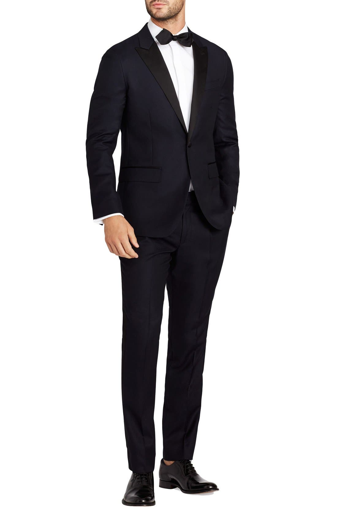 Trim Fit Wool Dinner Jacket,                             Alternate thumbnail 3, color,                             400