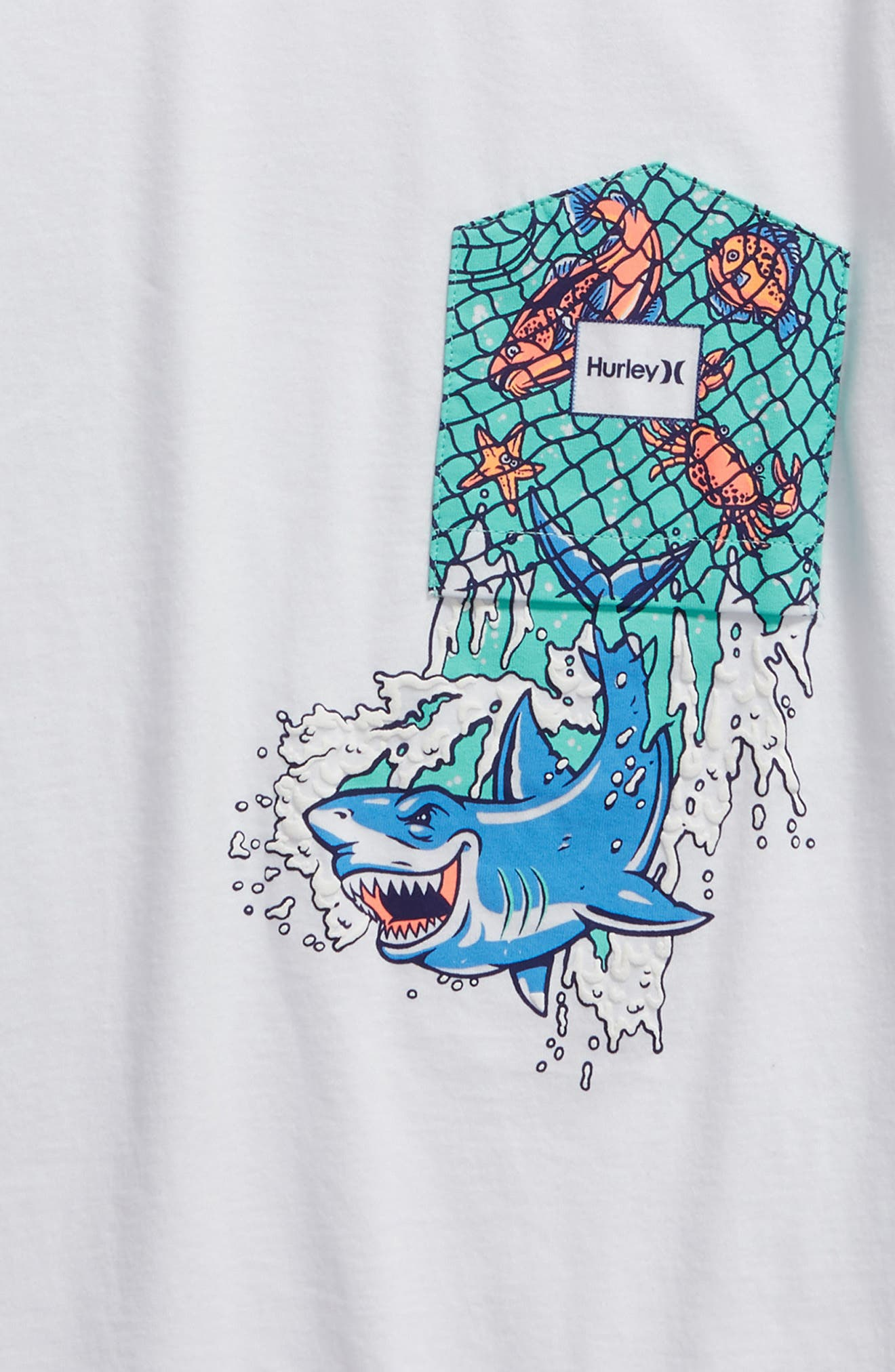 HURLEY,                             Shark Print Pocket T-Shirt,                             Alternate thumbnail 2, color,                             WHITE