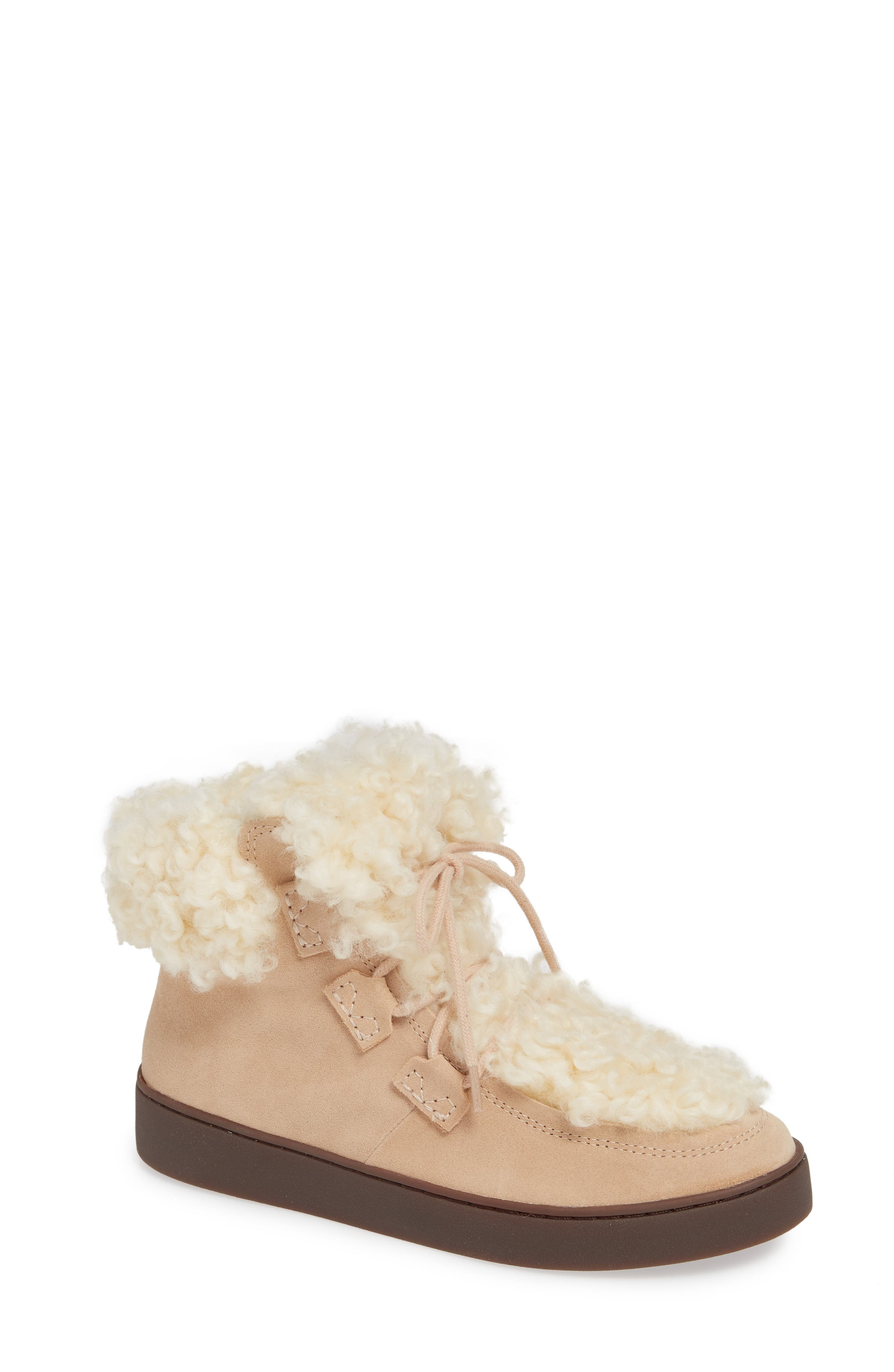 Oak Genuine Shearling Cuff Sneaker Bootie,                             Main thumbnail 1, color,                             SAND SUEDE