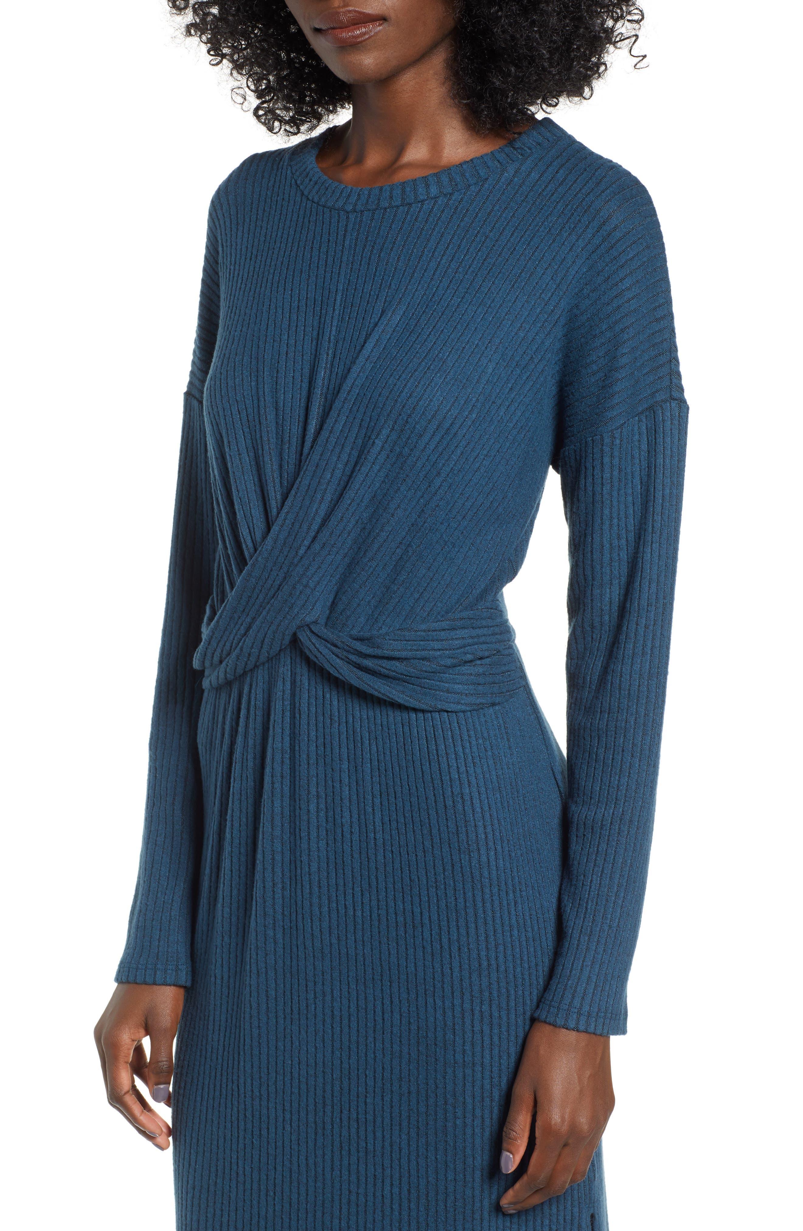 ALL IN FAVOR,                             Rib Knit Midi Dress,                             Alternate thumbnail 4, color,                             MIDNIGHT NAVY
