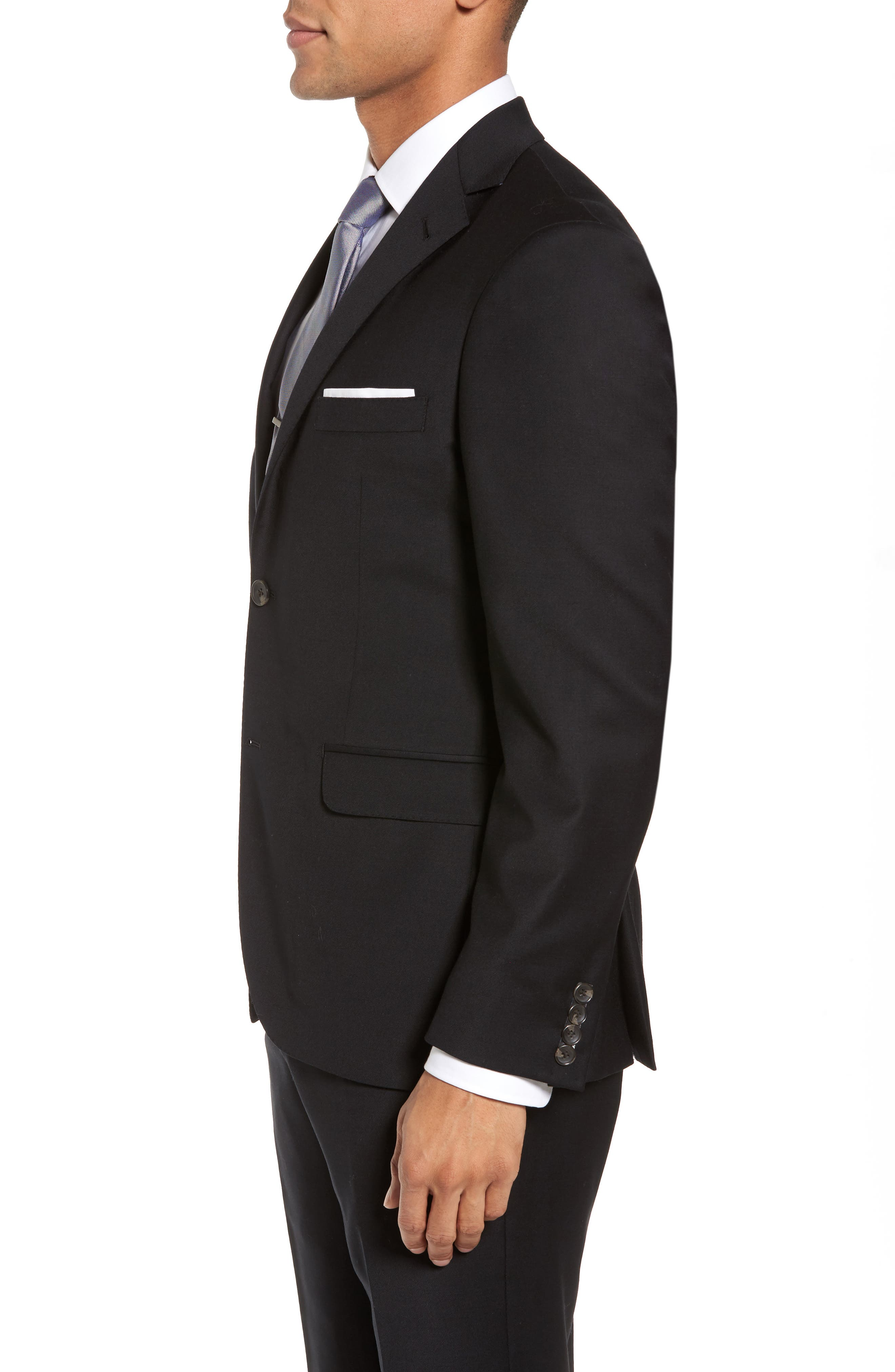 Trim Fit Stretch Solid Wool Blazer,                             Alternate thumbnail 3, color,